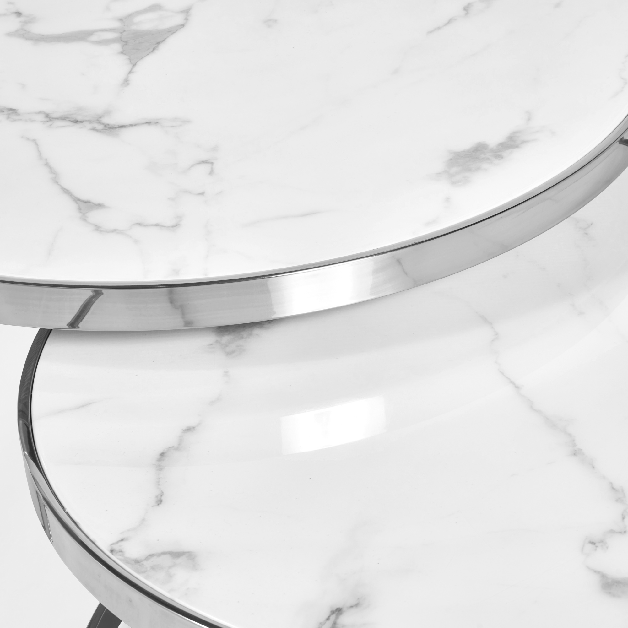 Florence Stainless Steel Framed Set of 2 Circular Coffee Nest Tables – White Marble