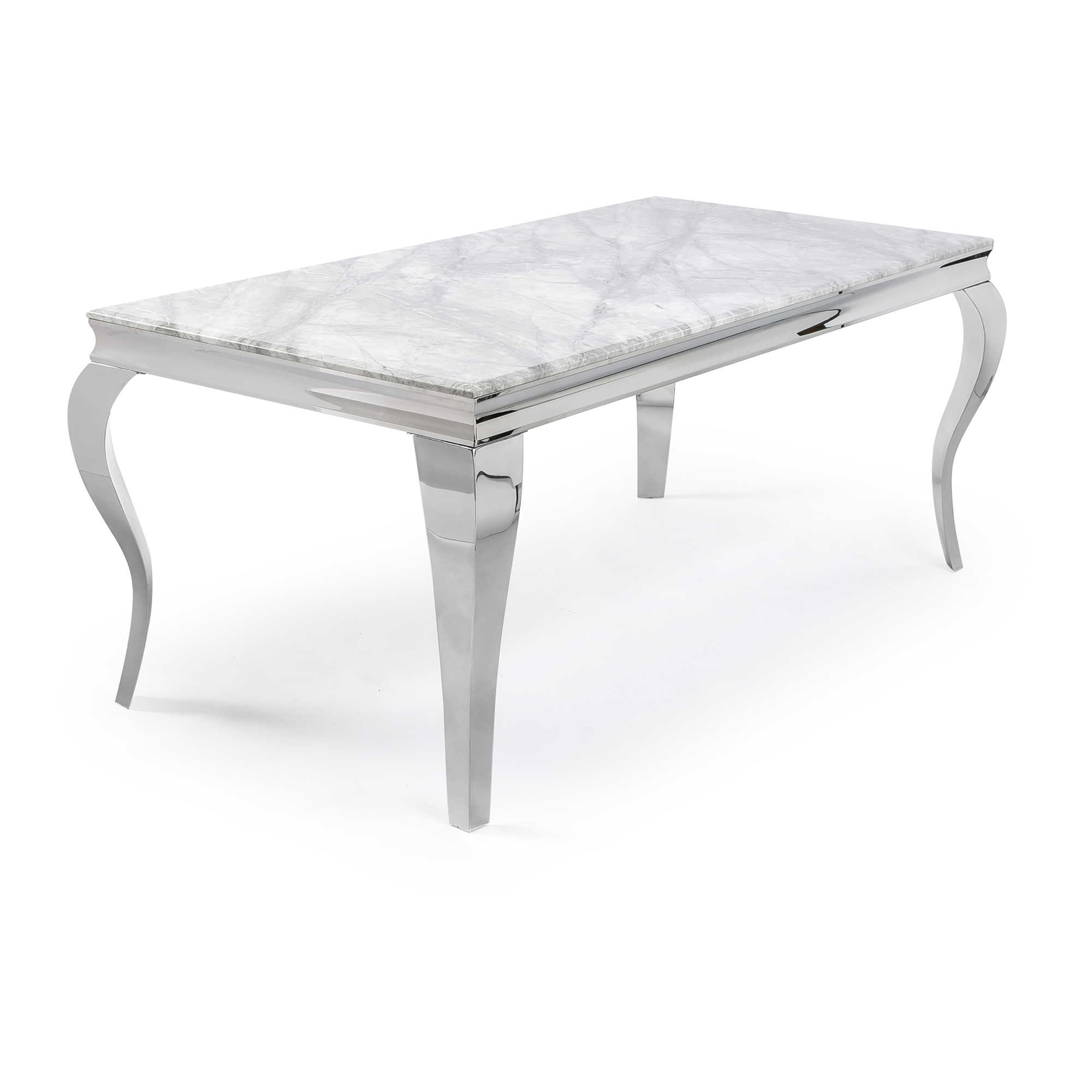 1.6m Louis Polished Steel Dining Grey Marble Table Set with 6 Grey Brushed Velvet Dining Chairs
