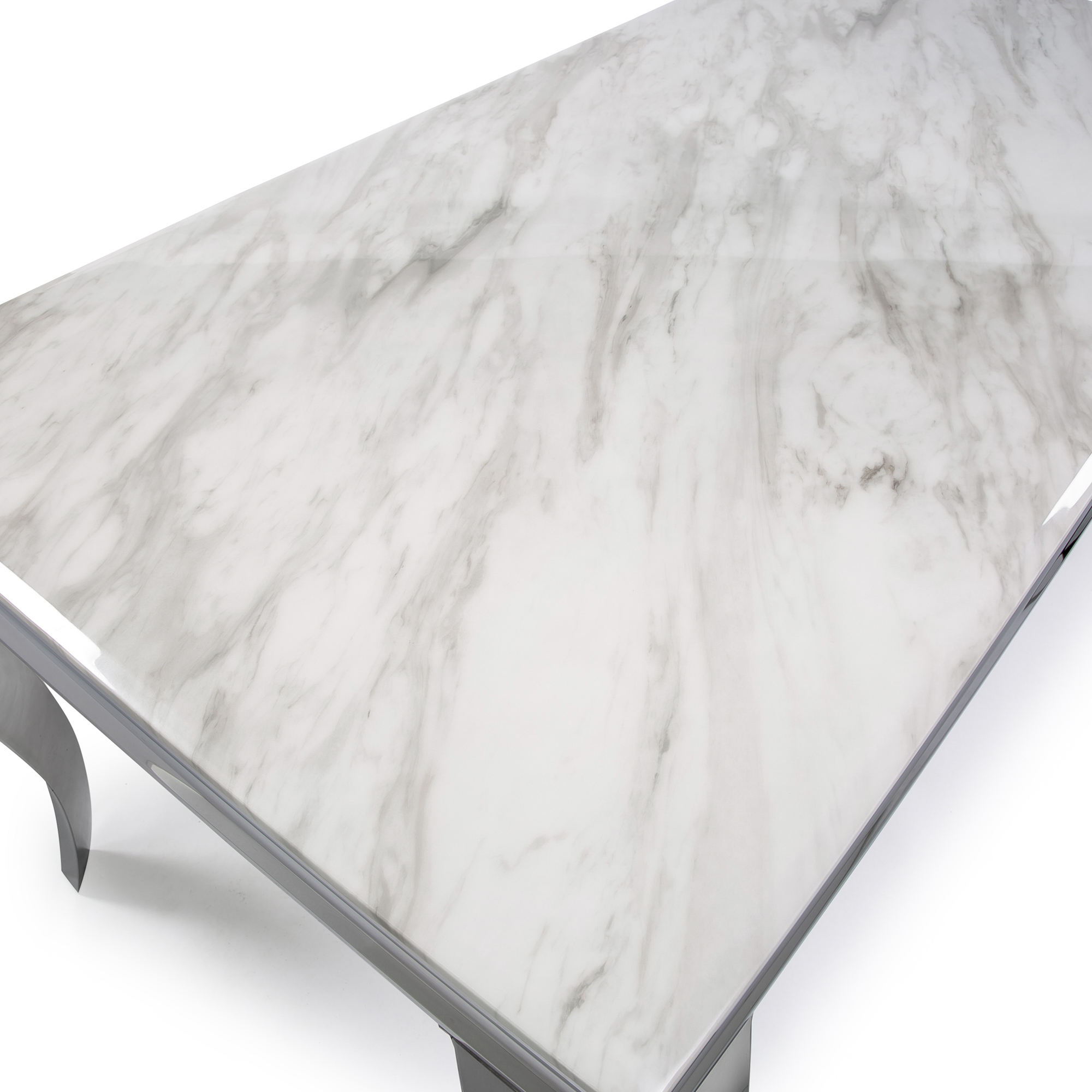 1.6m Louis Polished Steel Dining Grey Marble Table Set with 6 Hale Grey Brushed Velvet Dining Chairs (Copy)