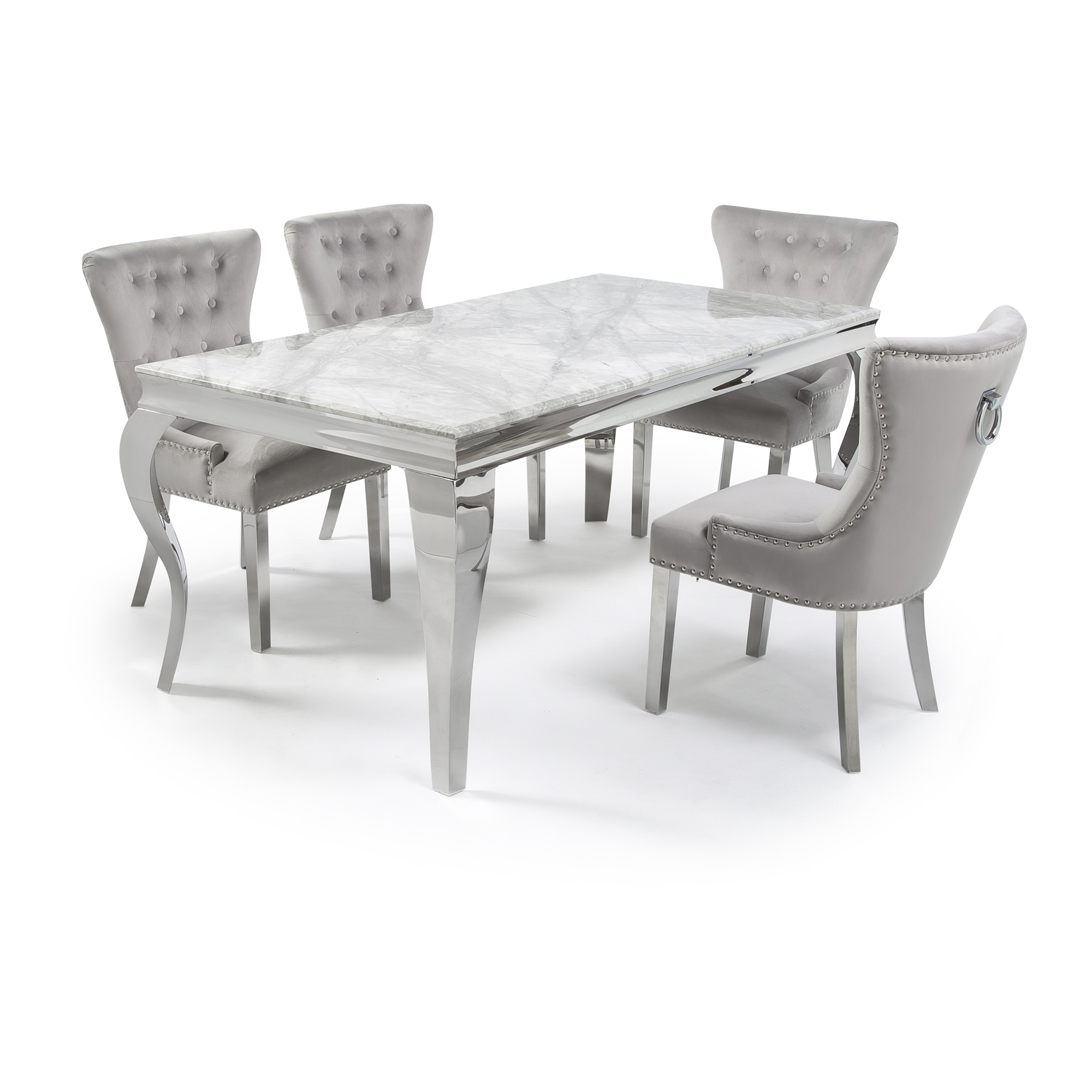 Picture of: 1 6m Louis Steel White Glass Dining Table Set With 6 Velvet Chairs Grosvenor Furniture