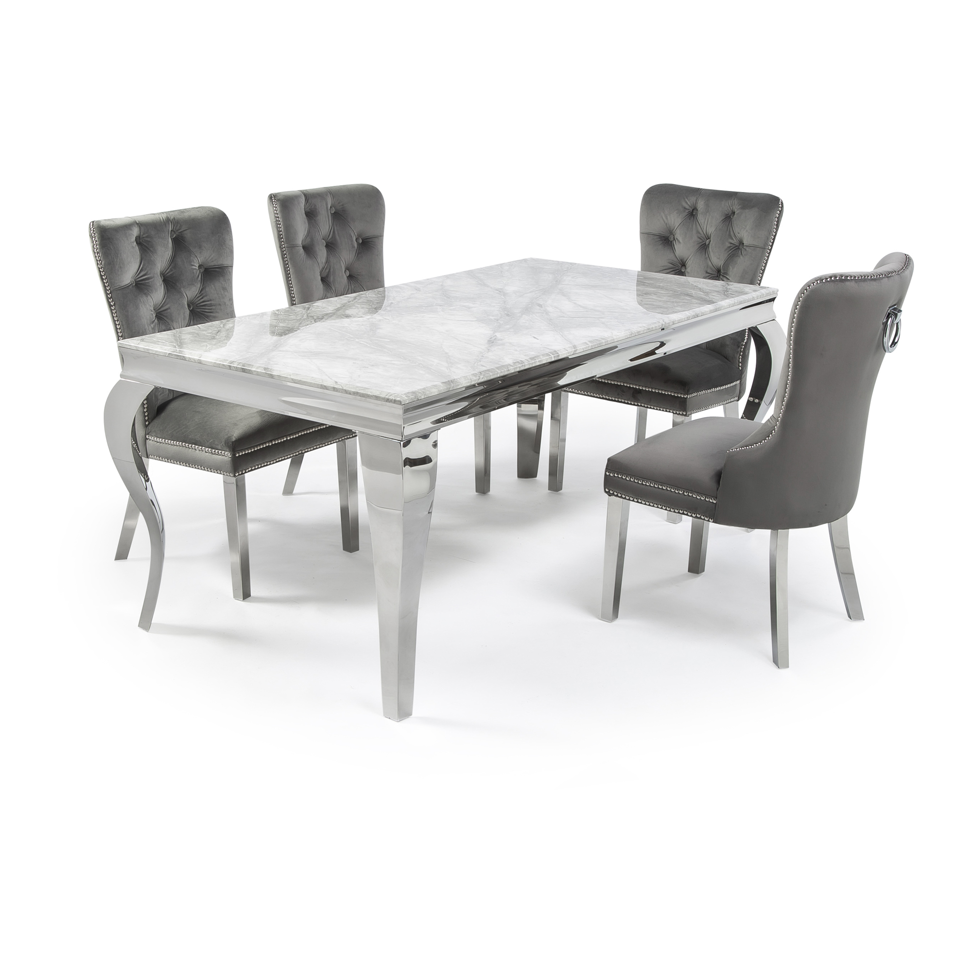 1.6m Louis Polished Steel Dining Grey Marble Table Set with 4 Hale Grey Brushed Velvet Dining Chairs