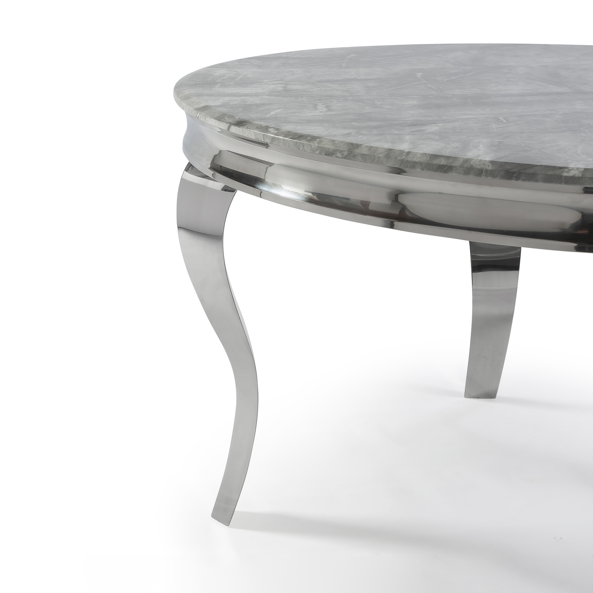 1.3m Circular Louis Polished Steel Dining Grey Marble Table Set with 4 Knightsbridge Grey Brushed Velvet Dining Chair – Buttoned