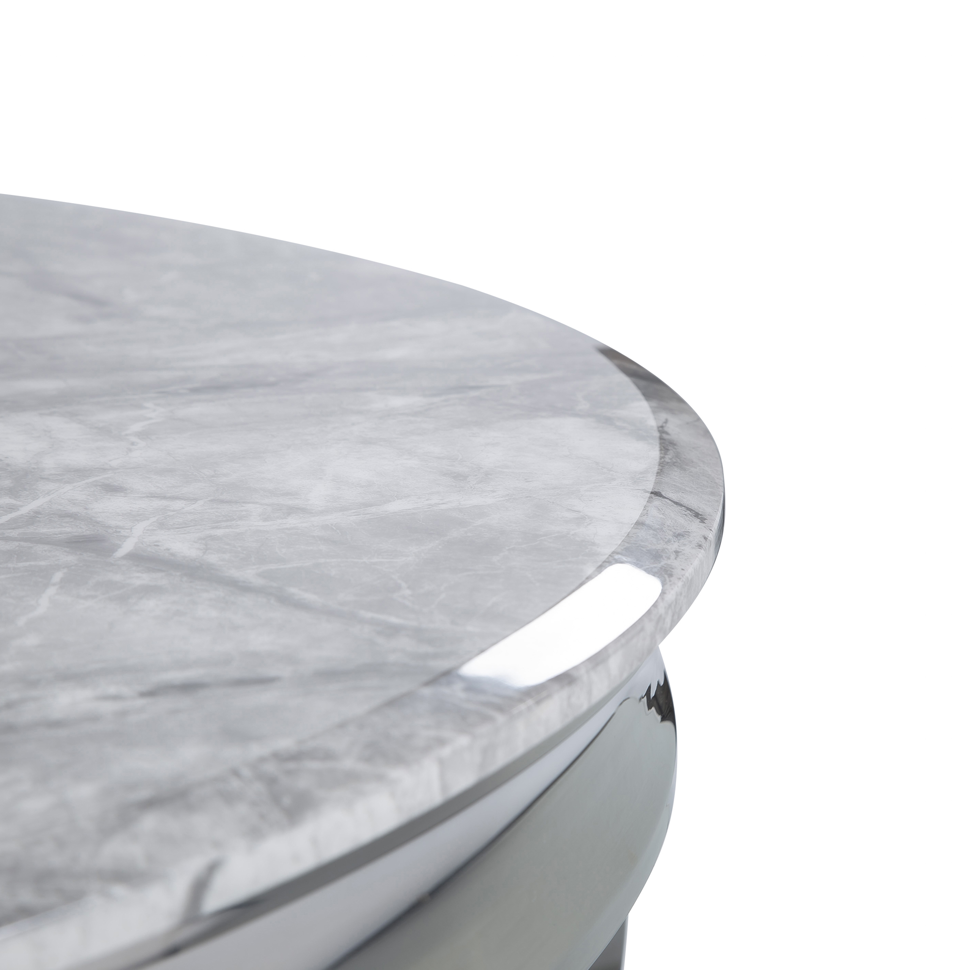 1.3m Circular Louis Polished Steel Dining Grey Marble Table Set with 4 Grey Brushed Velvet Dining Chair
