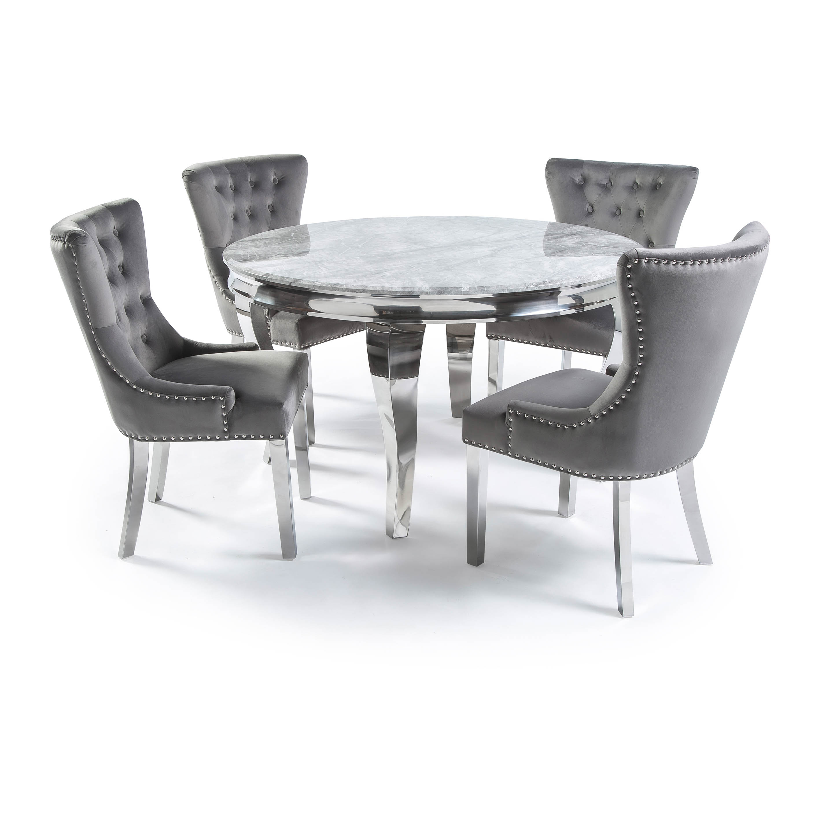 1.3m Circular Louis Polished Steel Dining Grey Marble Table Set with 4 Knightsbridge Grey Brushed Velvet Dining Chair – Plain