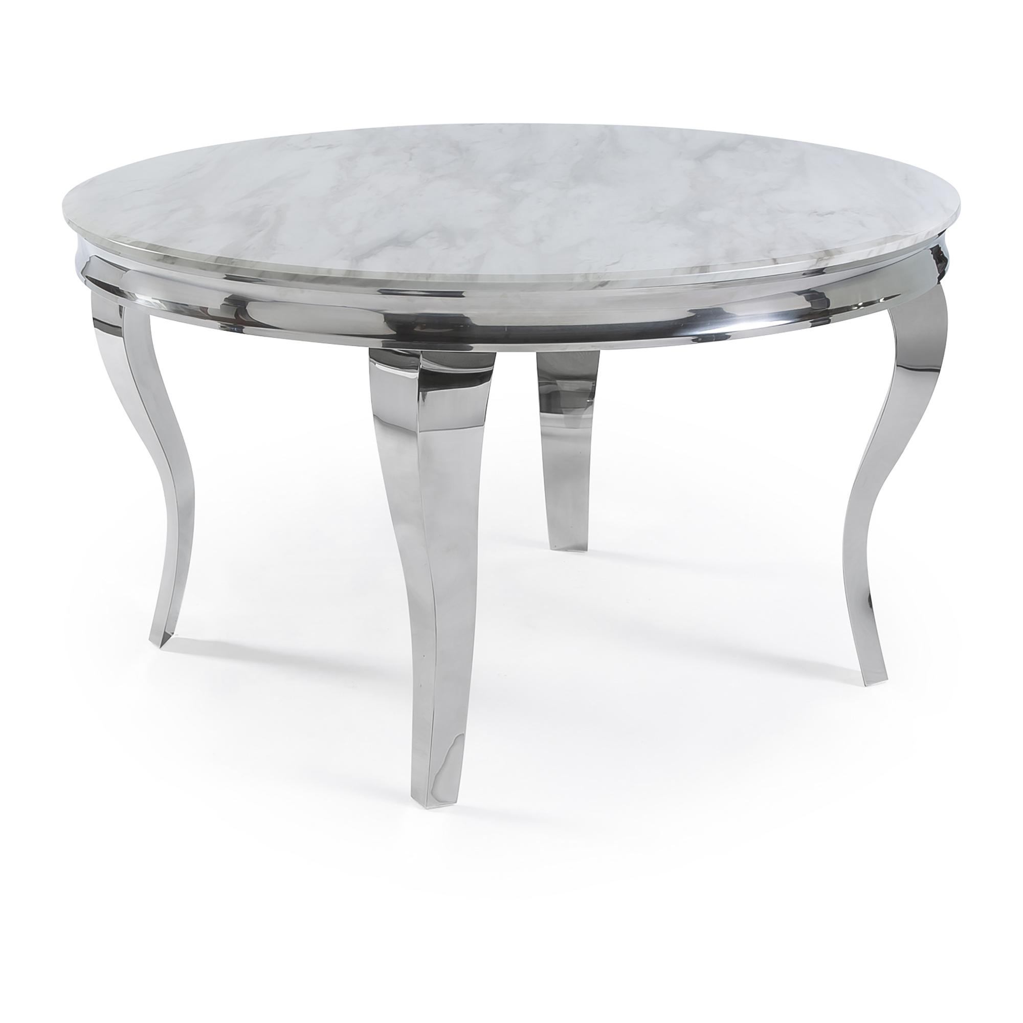 1.3m Circular Louis Polished Steel Dining White Marble Table Set with 4 Grey Brushed Velvet Dining Chair
