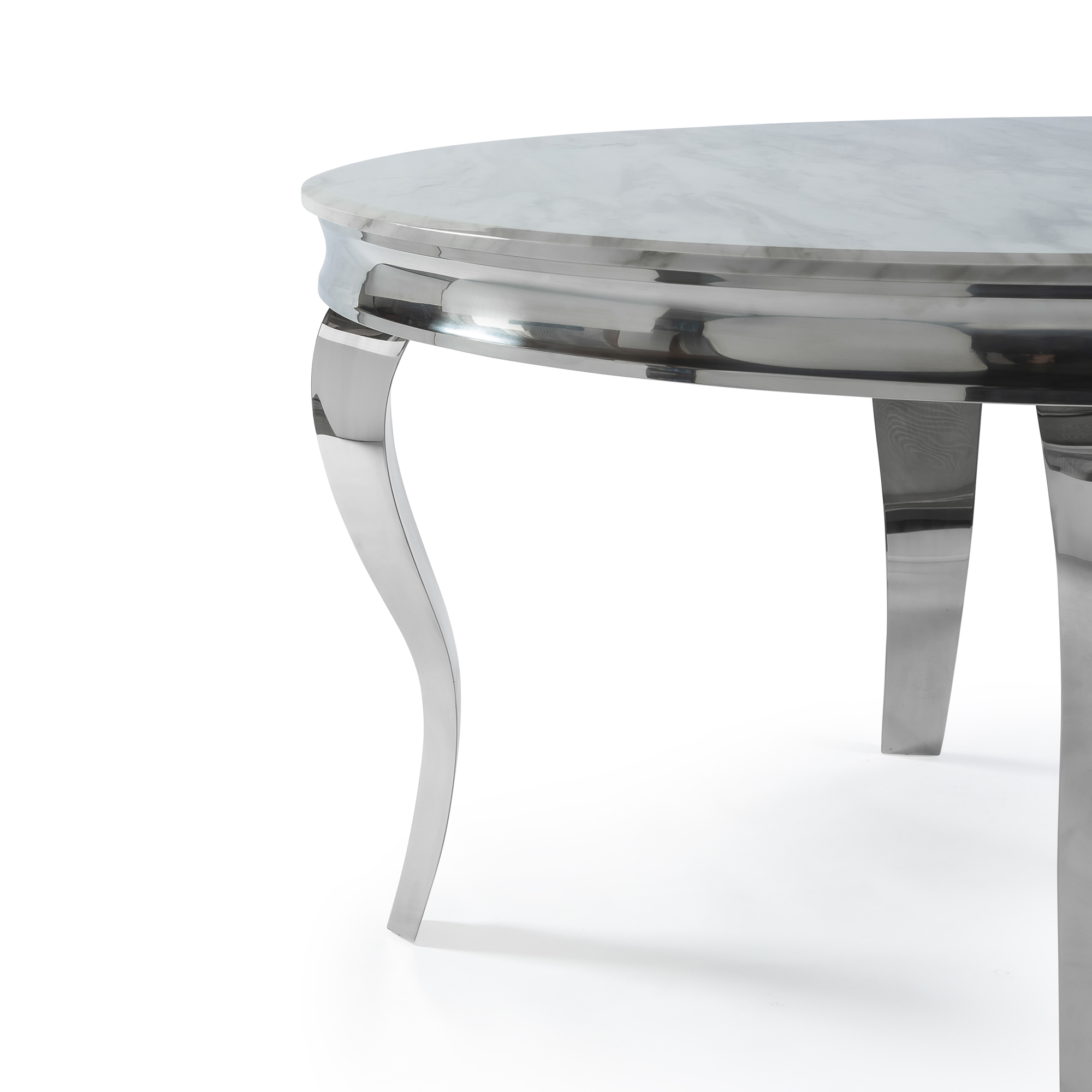 1.3m Circular Louis Polished Steel Dining White Marble Table Set with 4 Knightsbridge Grey Brushed Velvet Dining Chair