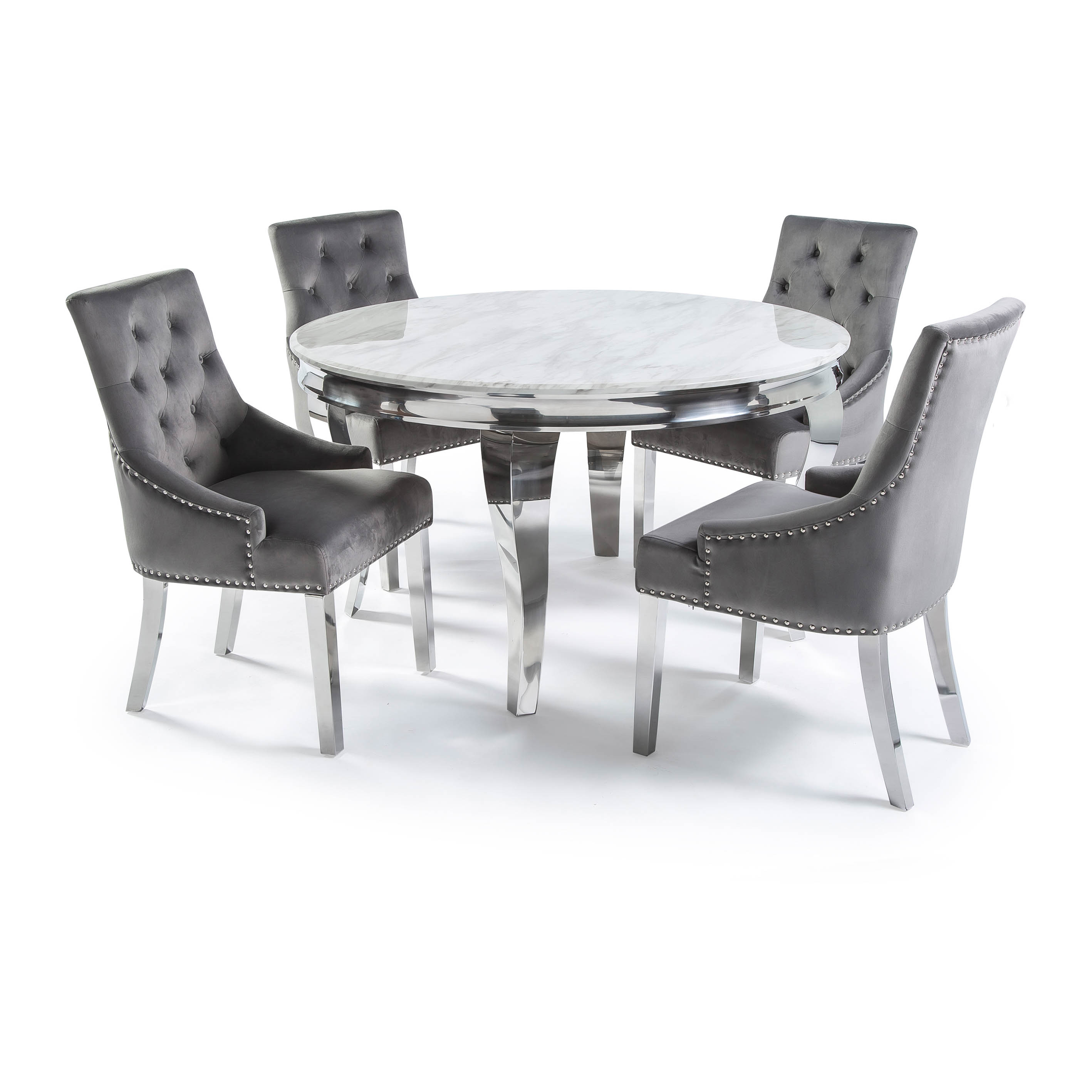 1.3m Circular Louis Polished Steel Dining White Marble Table Set with 4 Grey Brushed Velvet Dining Chair – Plain