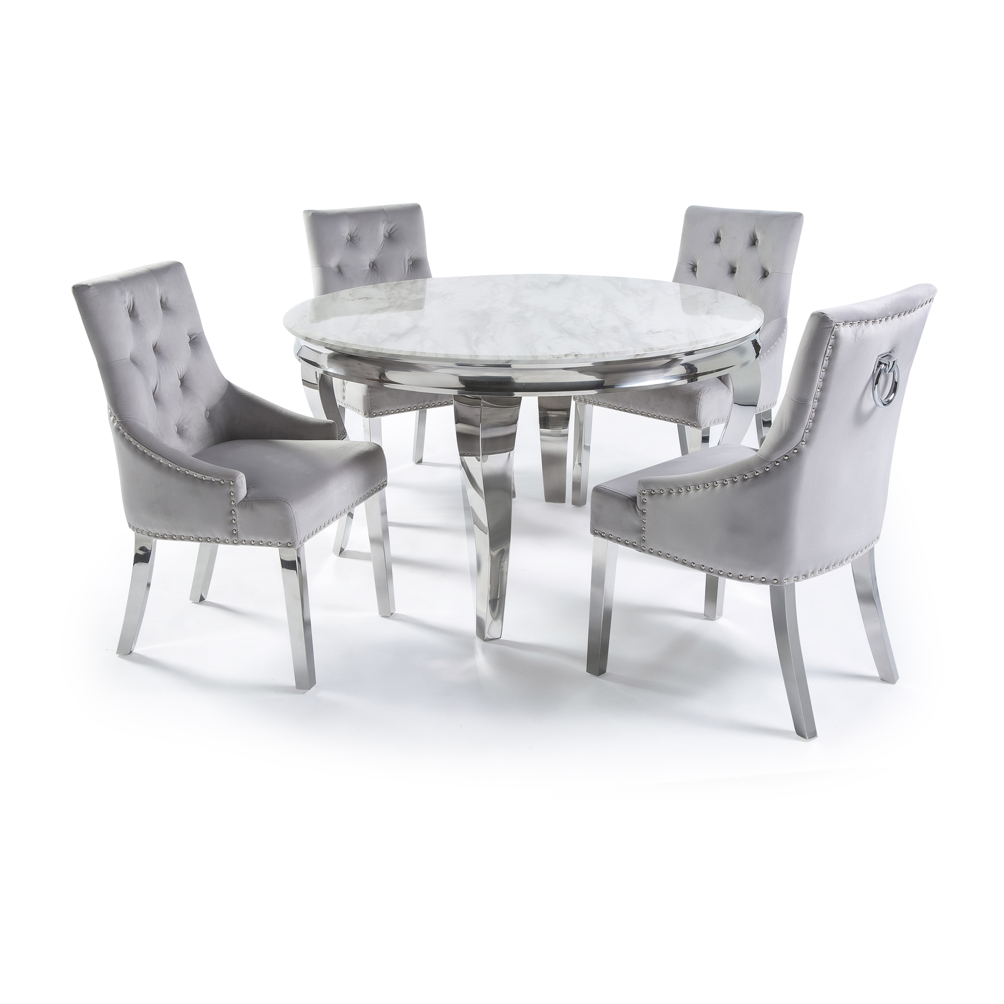 1.3m Circular Louis Polished Steel Dining White Marble Table Set with 4 Dove Grey Brushed Velvet Dining Chair