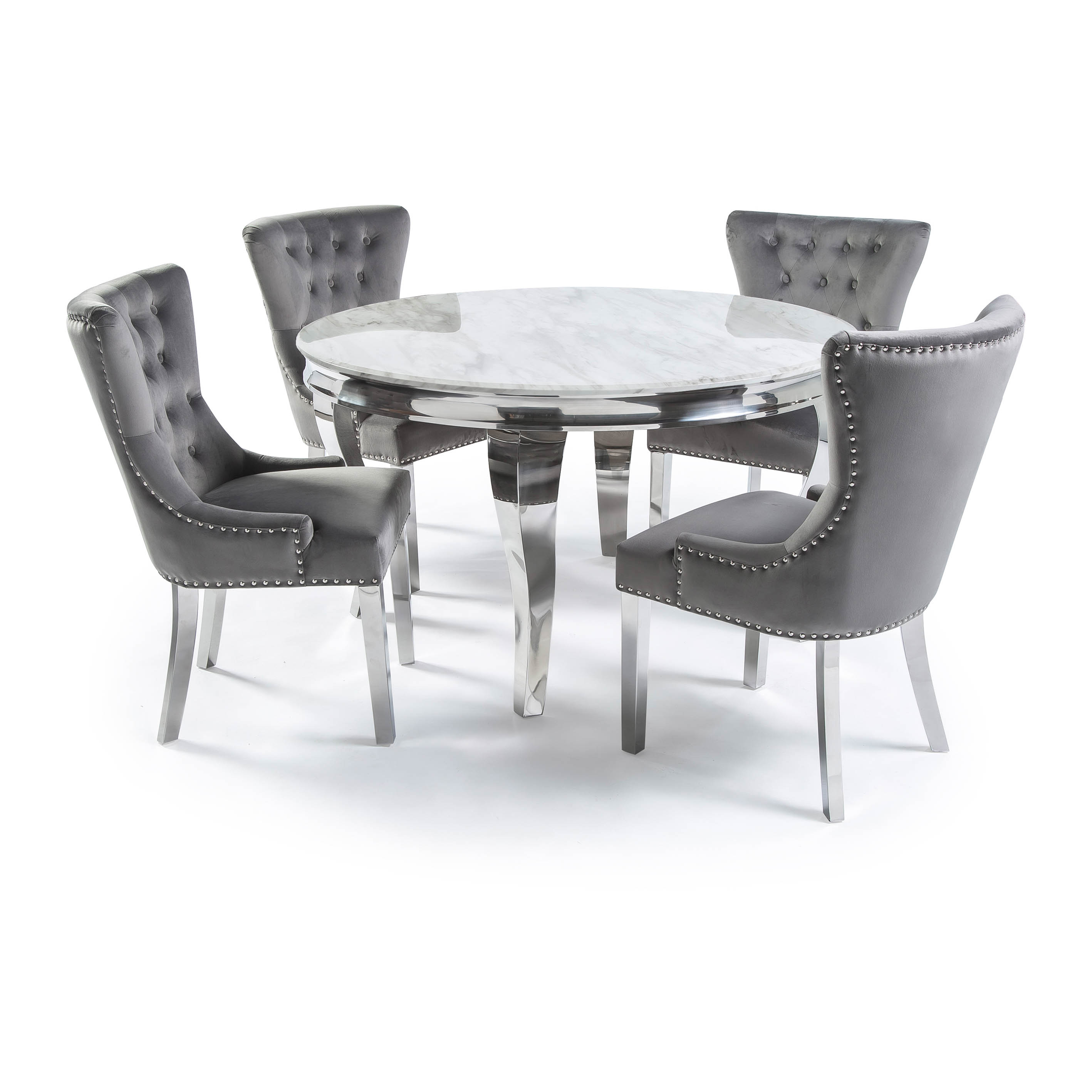 1.3m Circular Louis Polished Steel Dining White Marble Table Set with 4 Knightsbridge Grey Brushed Velvet Dining Chair – Plain