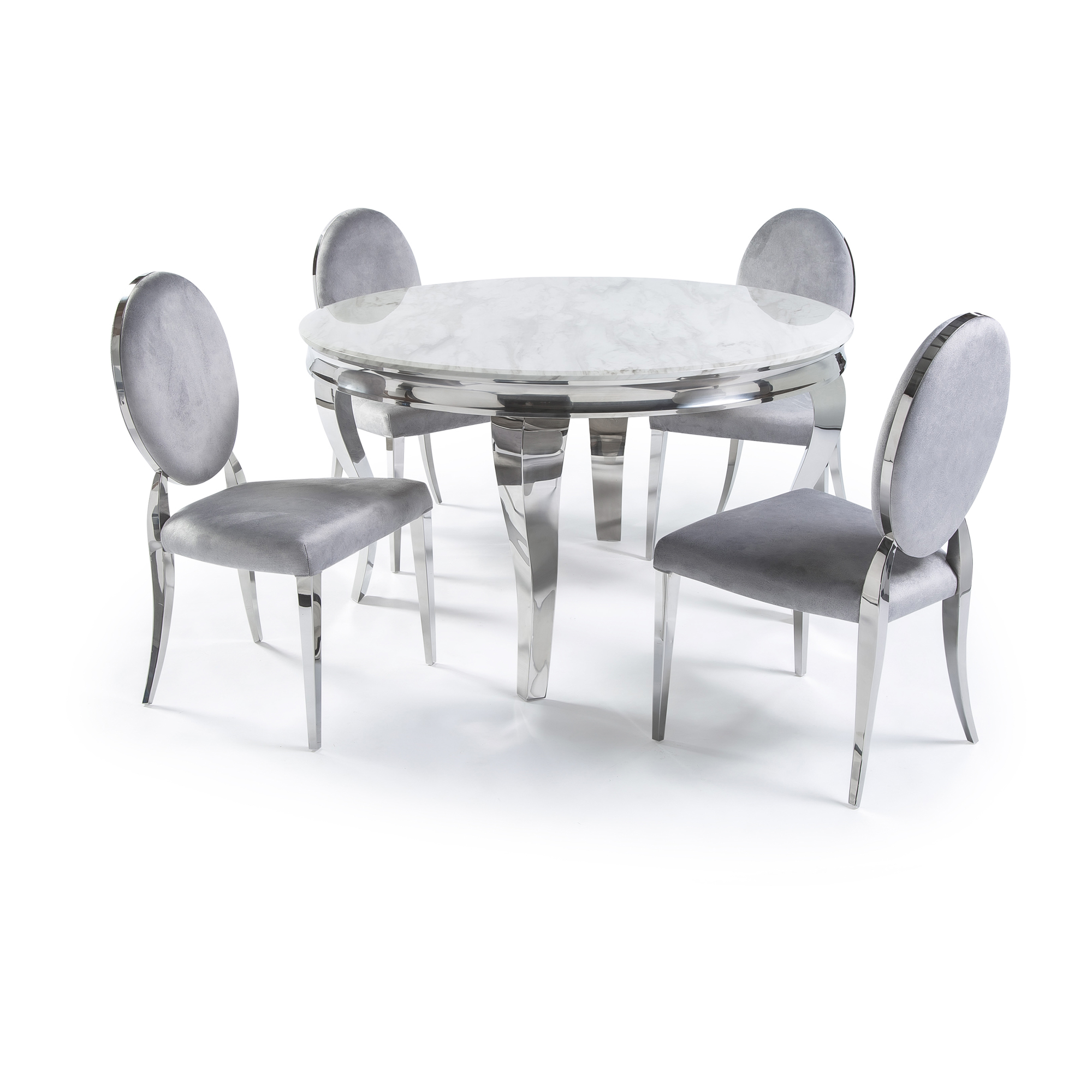 1.3m Circular Louis Polished Steel Dining White Marble Table Set with 4 Louis Grey Brushed Velvet Dining Chair