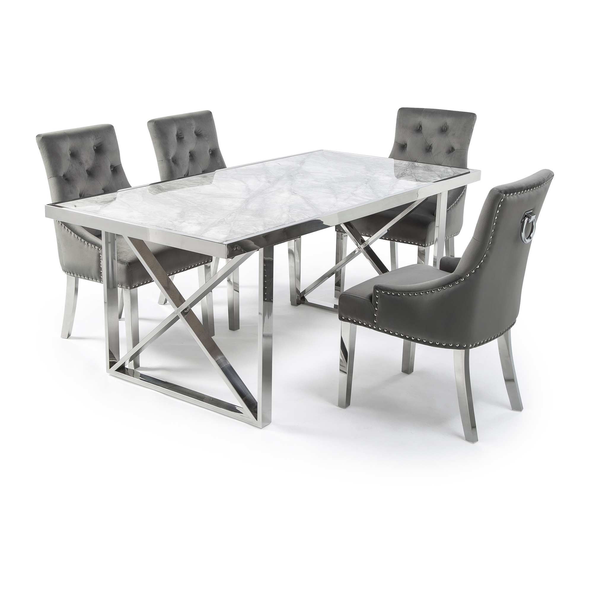 1.8M Tuscany Grey Marble Dining Table Set with 4 Grey Brushed Velvet Chelsea Dining Chairs