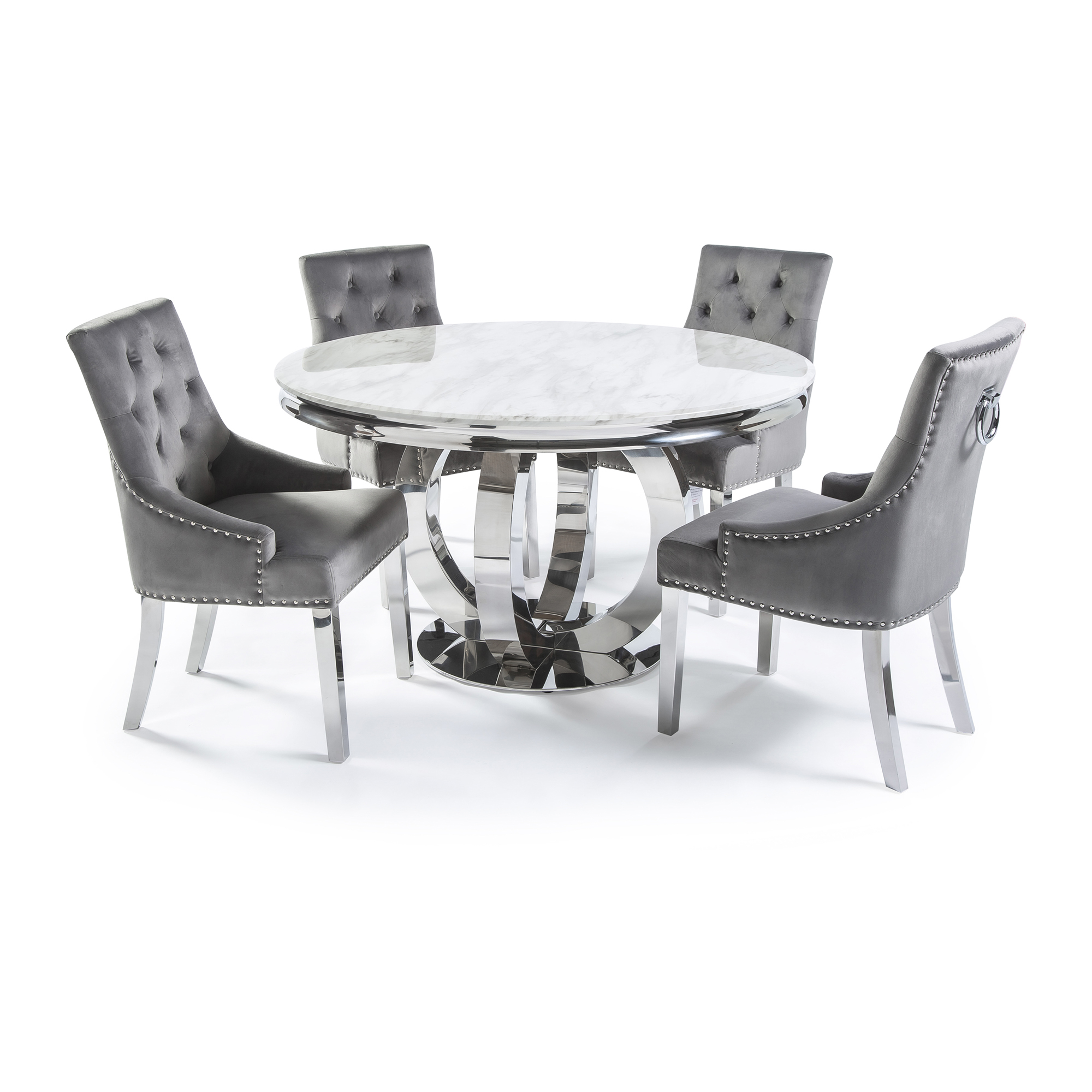1.3m Circular Polished Steel Dining White Marble Table Set with 4 Grey Brushed Velvet Dining Chairs