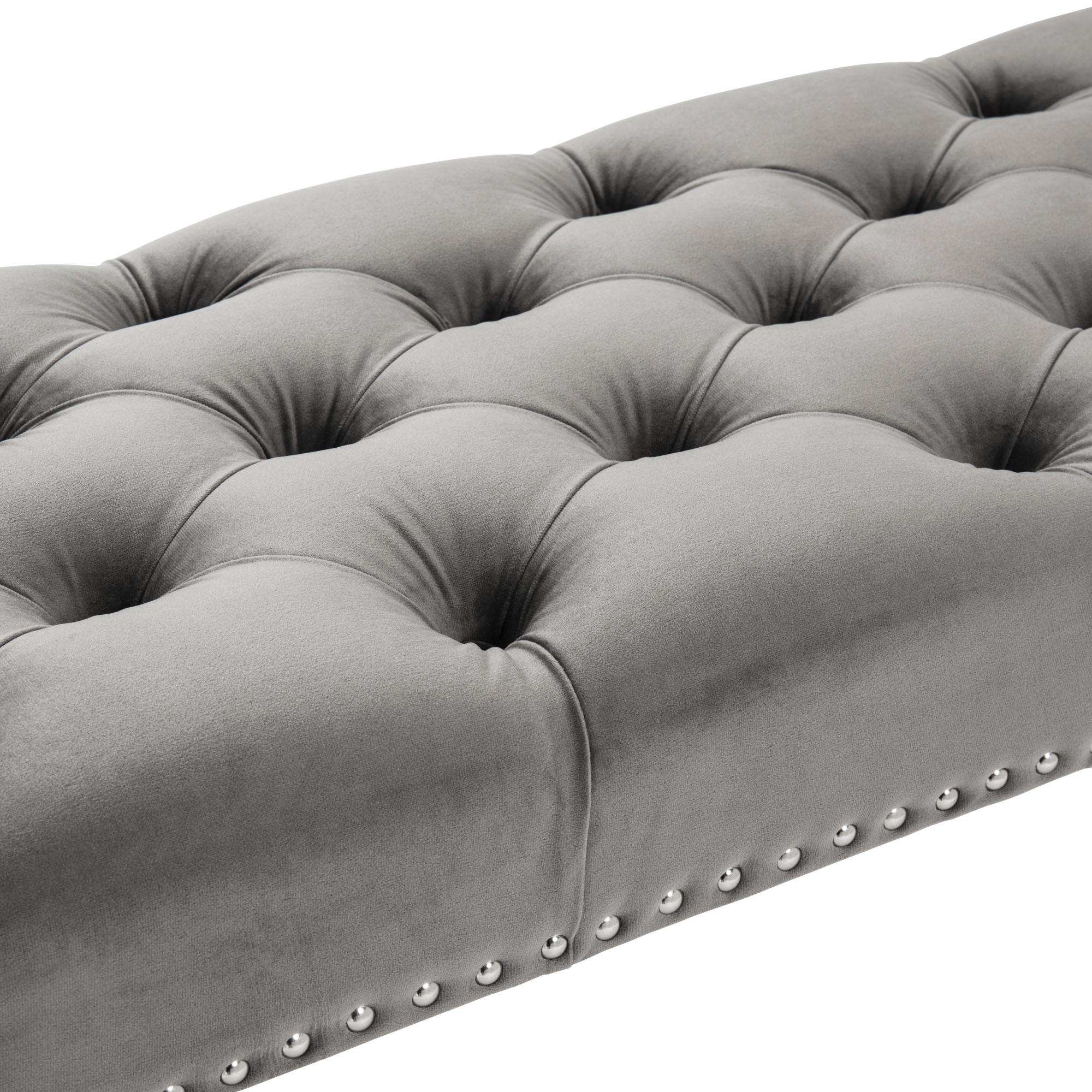 Richmond Upholstered Grey Brushed Velvet Dining Bench – Steel Legs