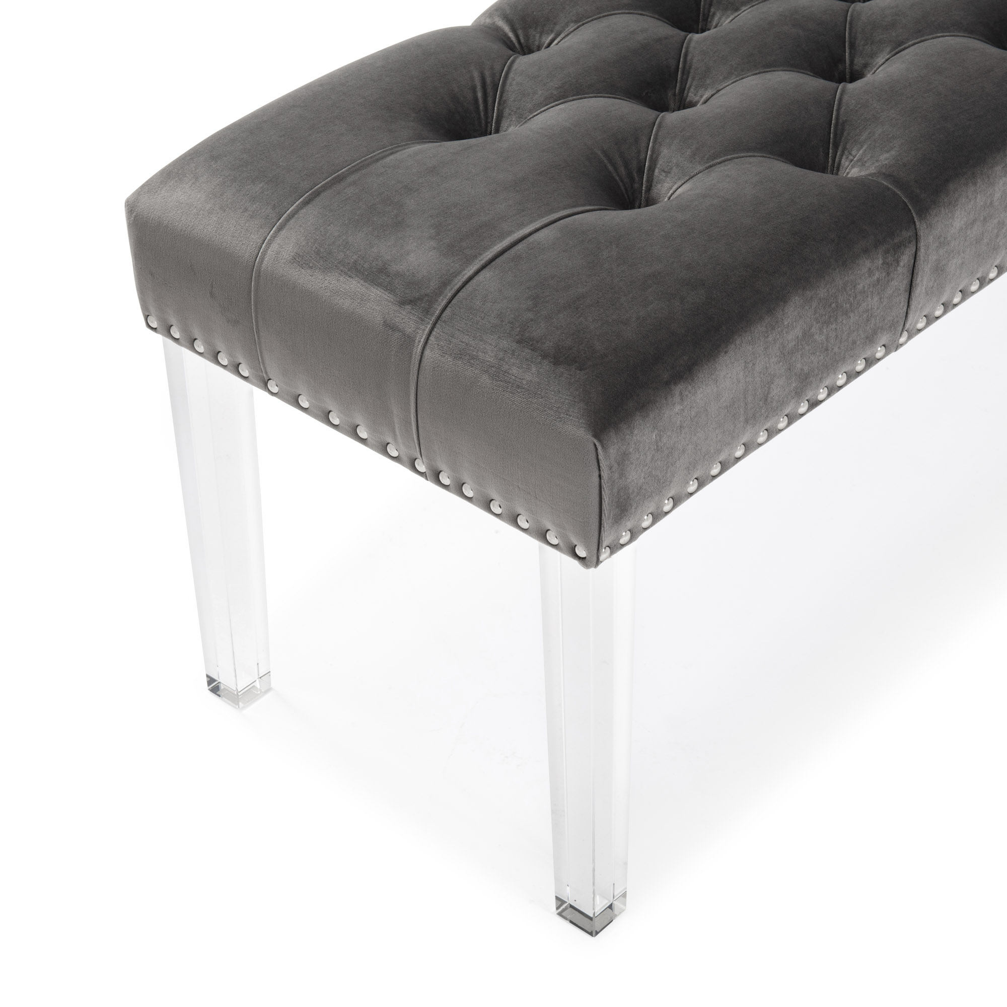 Richmond Upholstered Grey Velvet Dining Bench With Acrylic Legs