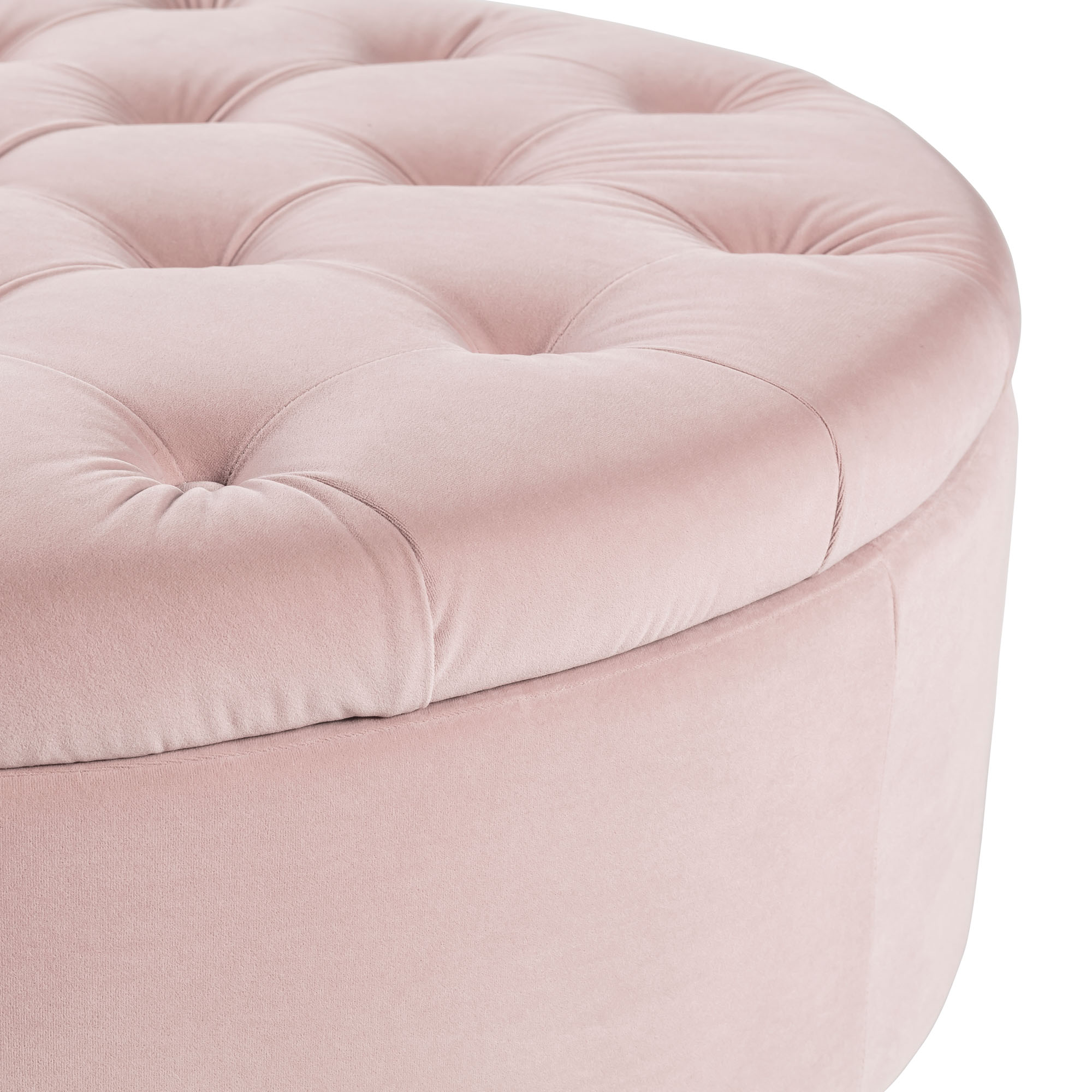 Buttoned Upholstered Blush Pink Velvet Storage Ottoman – Footstool