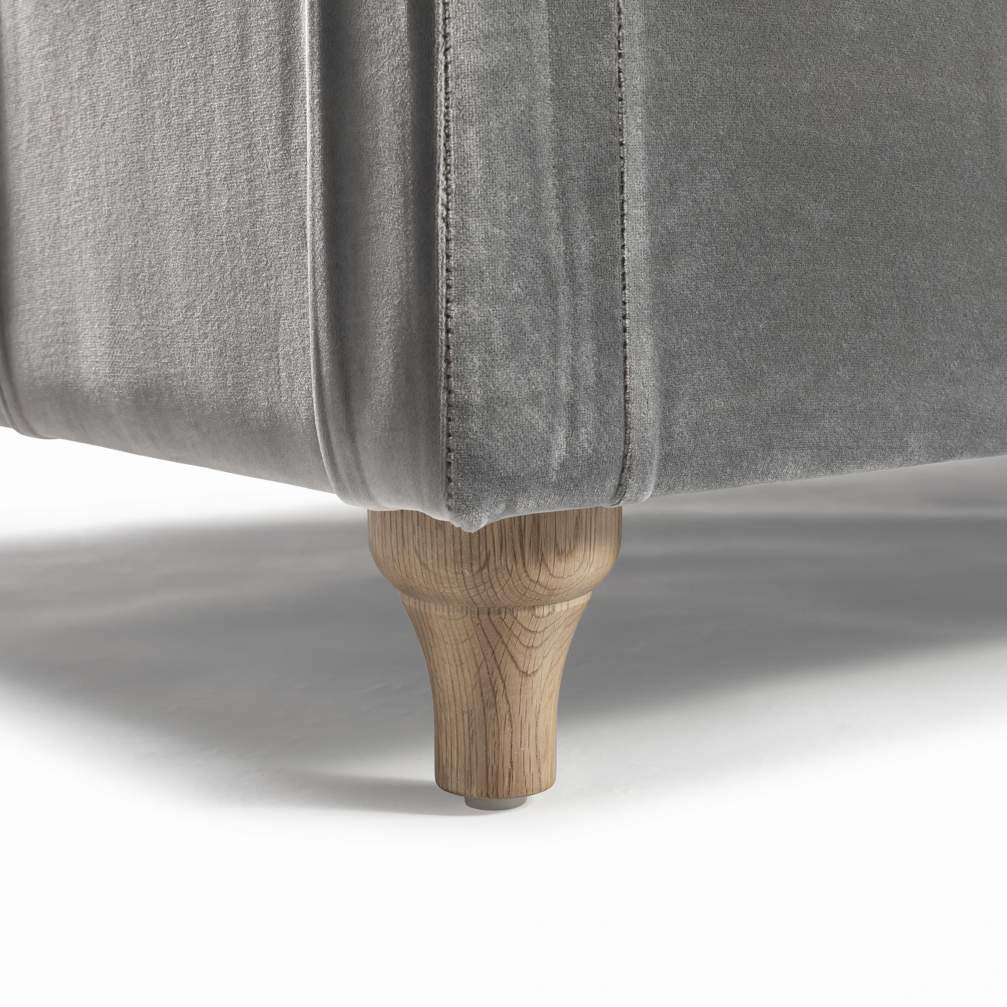 Large Buttoned Grey Velvet Ottoman & Footstool