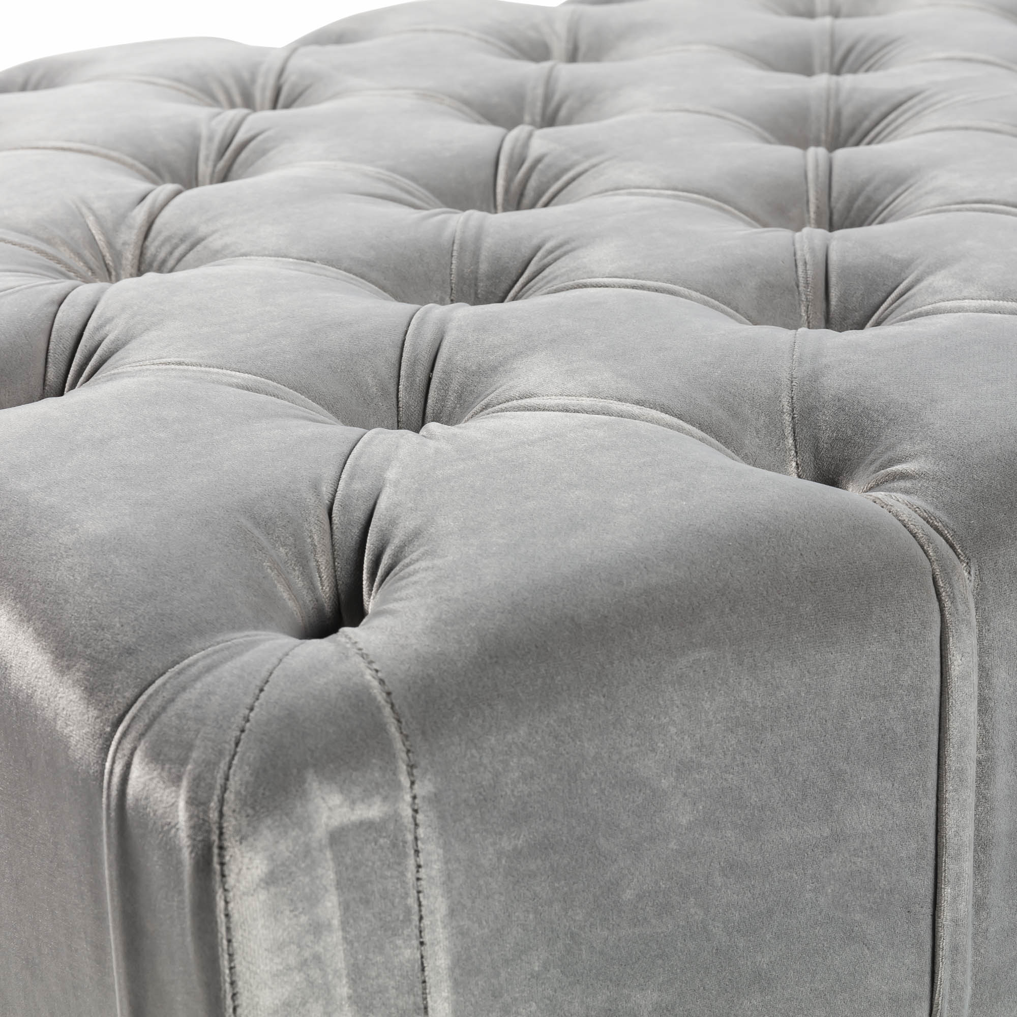 Large Buttoned Upholstered Grey Velvet Ottoman – Footstool