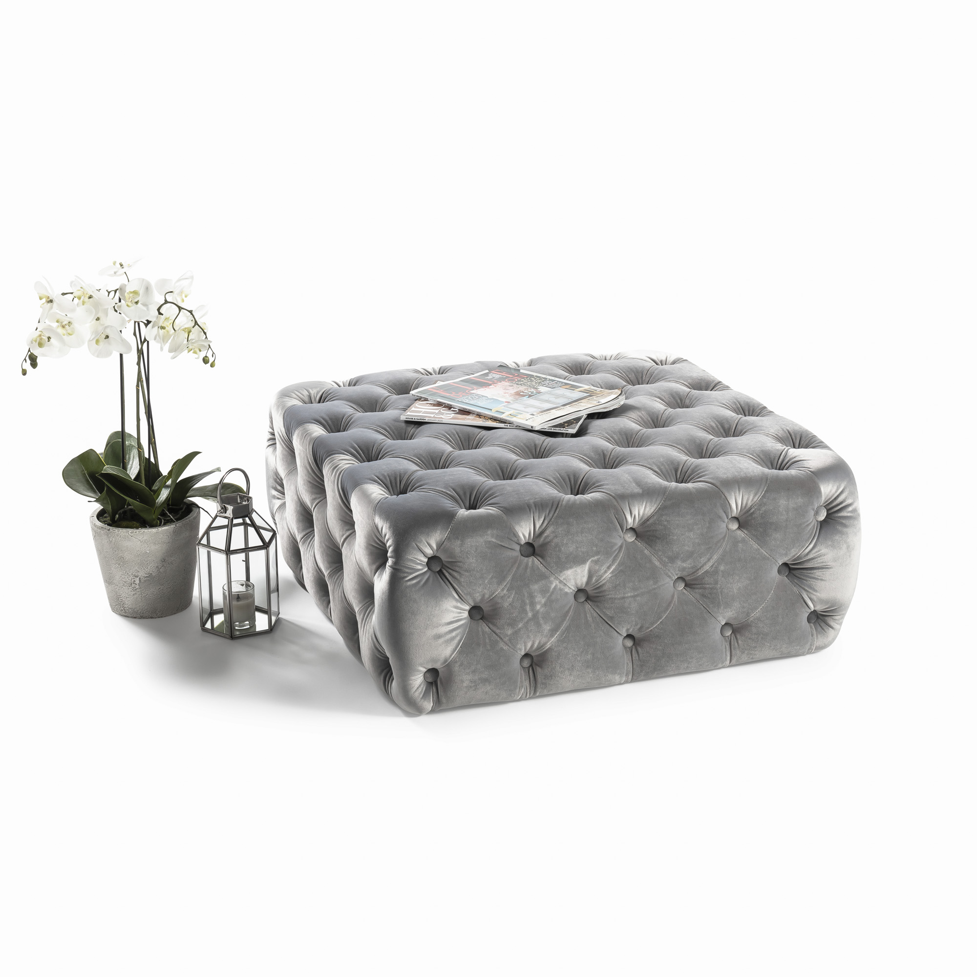 Buttoned Upholstered Grey Velvet Ottoman & Footstool