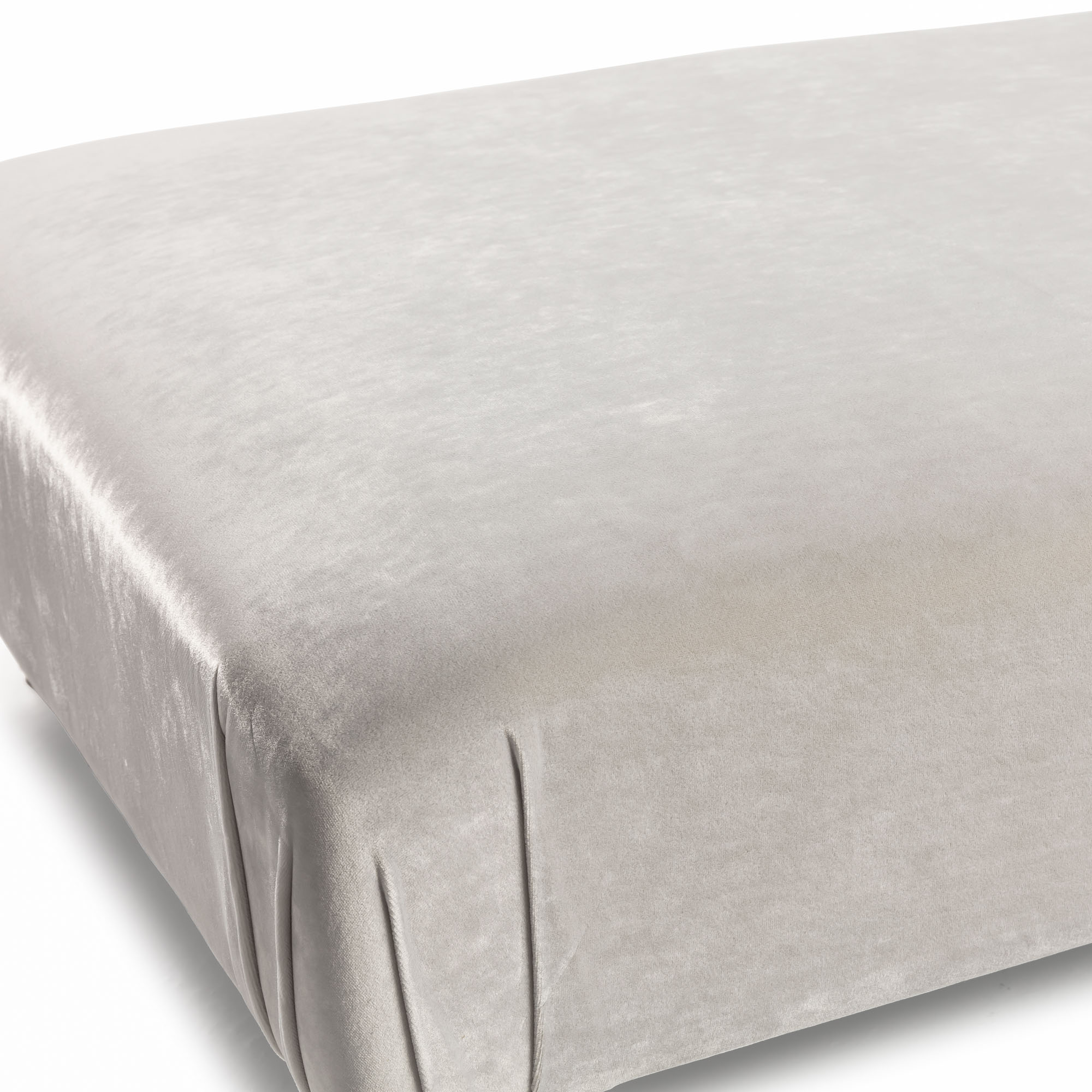 Large Upholstered Cream Velvet Ottoman – Footstool