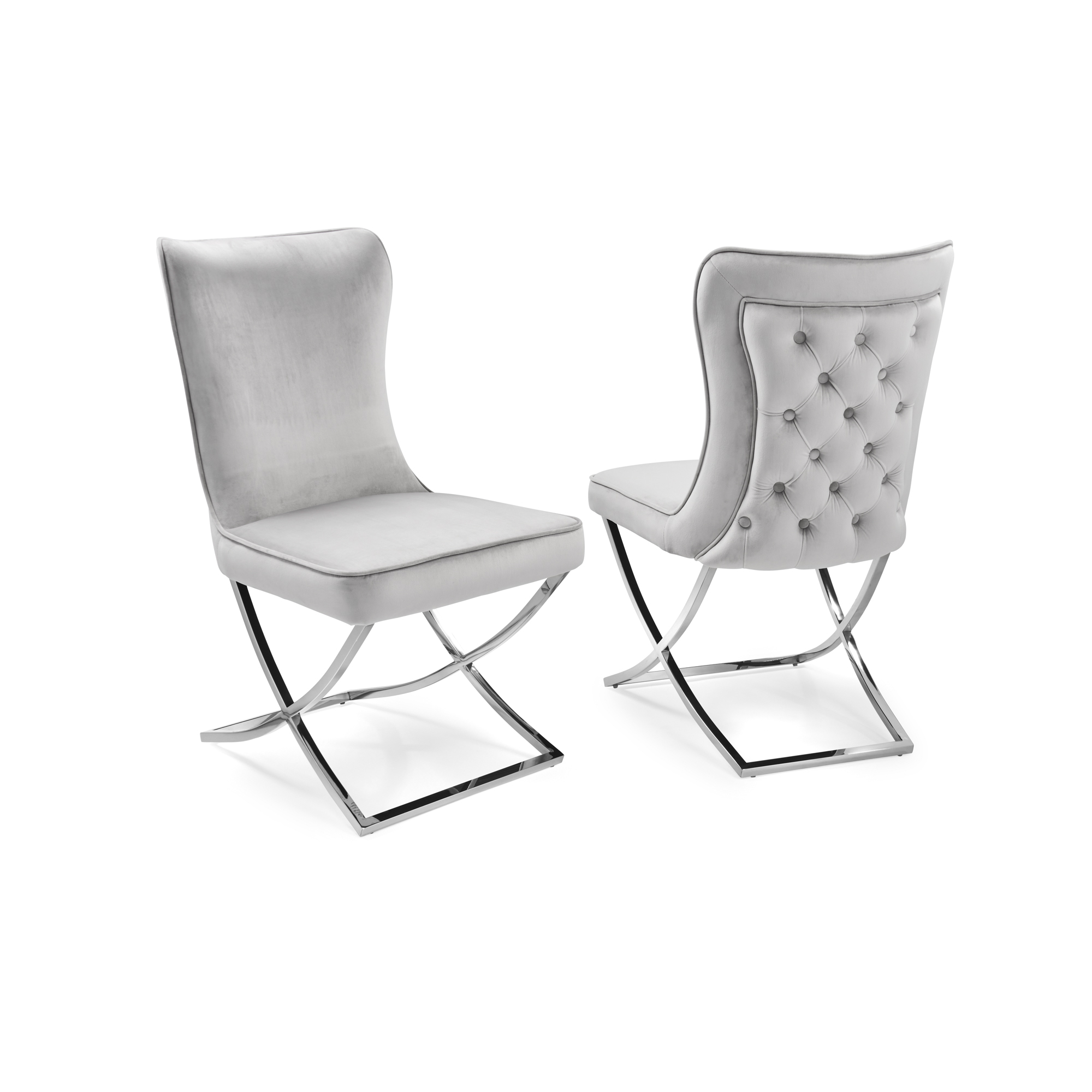 Pair of Cheshire Dove Grey Brushed Velvet Dining Chair with a Stainless Steel Cross Leg