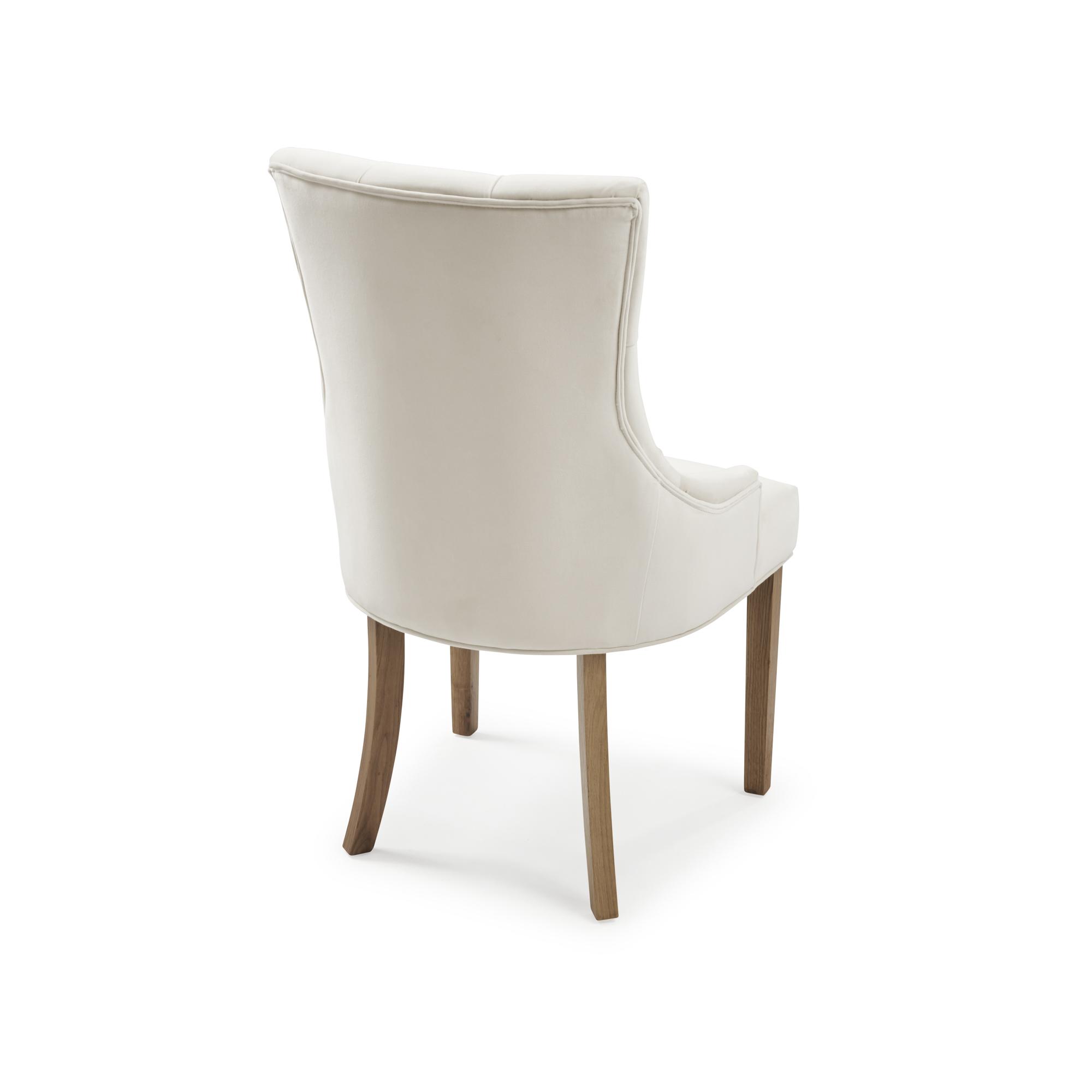 Truro Tiffany Velvet Upholstered Scoop Dining Chair – Cream