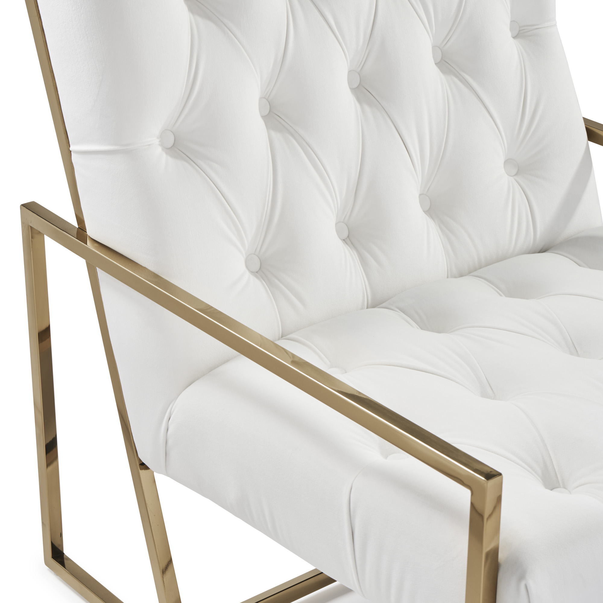 Bequest Accent Gold Stainless Steel & Pearl White Velvet Armchair