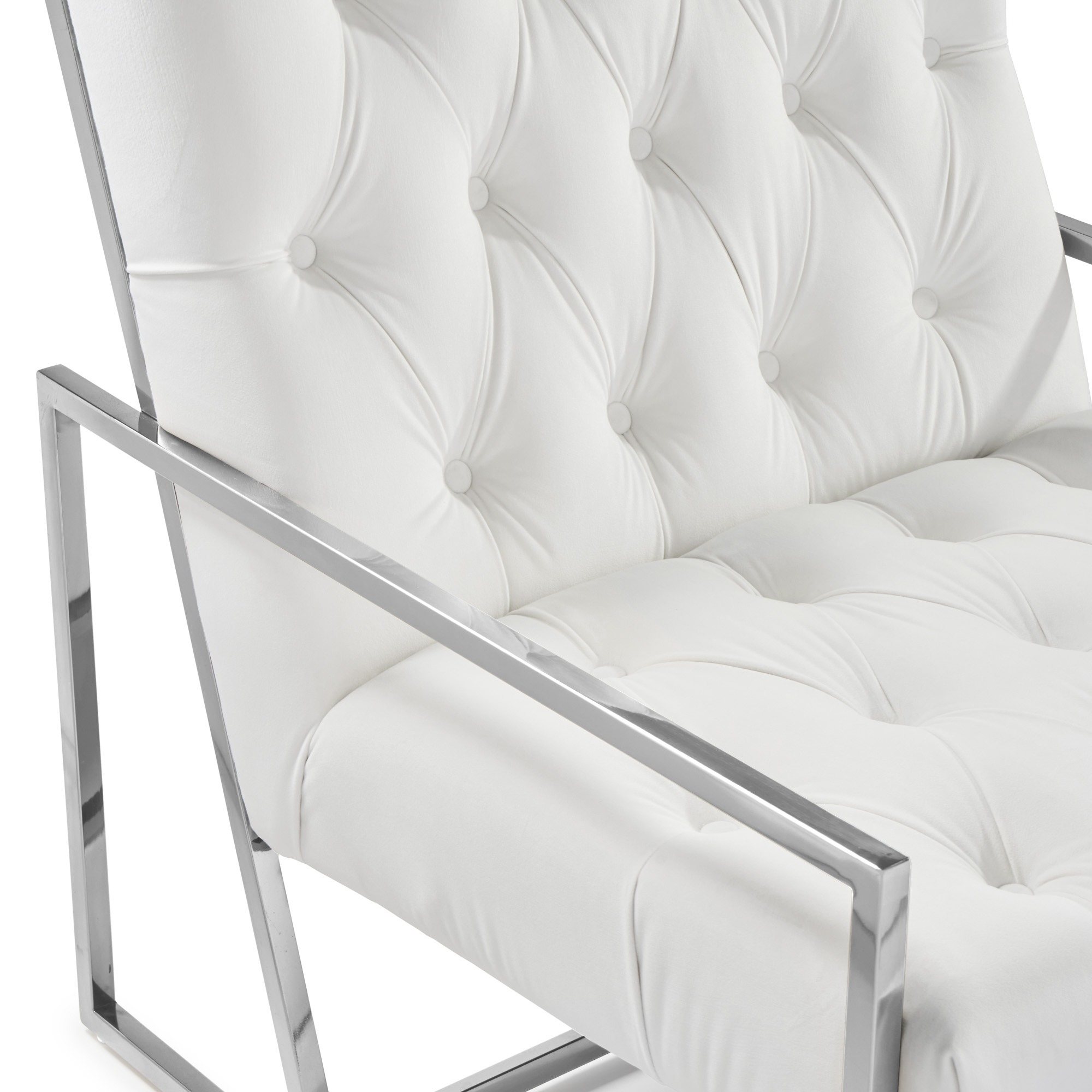 Bequest Accent Stainless Steel & Pearl White Velvet Lounge Armchair
