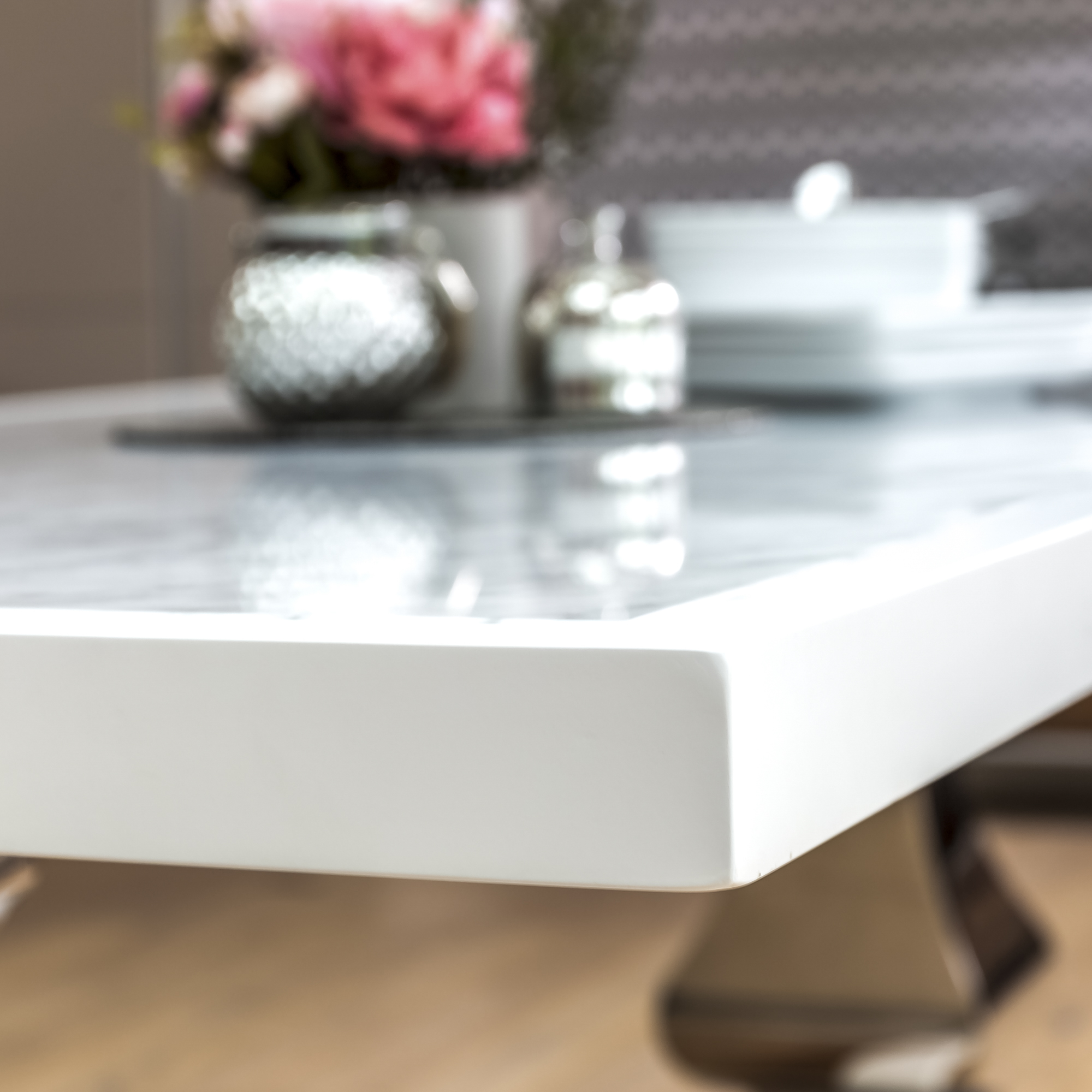 2m Carrara White Marble Dining Room Table With Polished Steel Pedestals