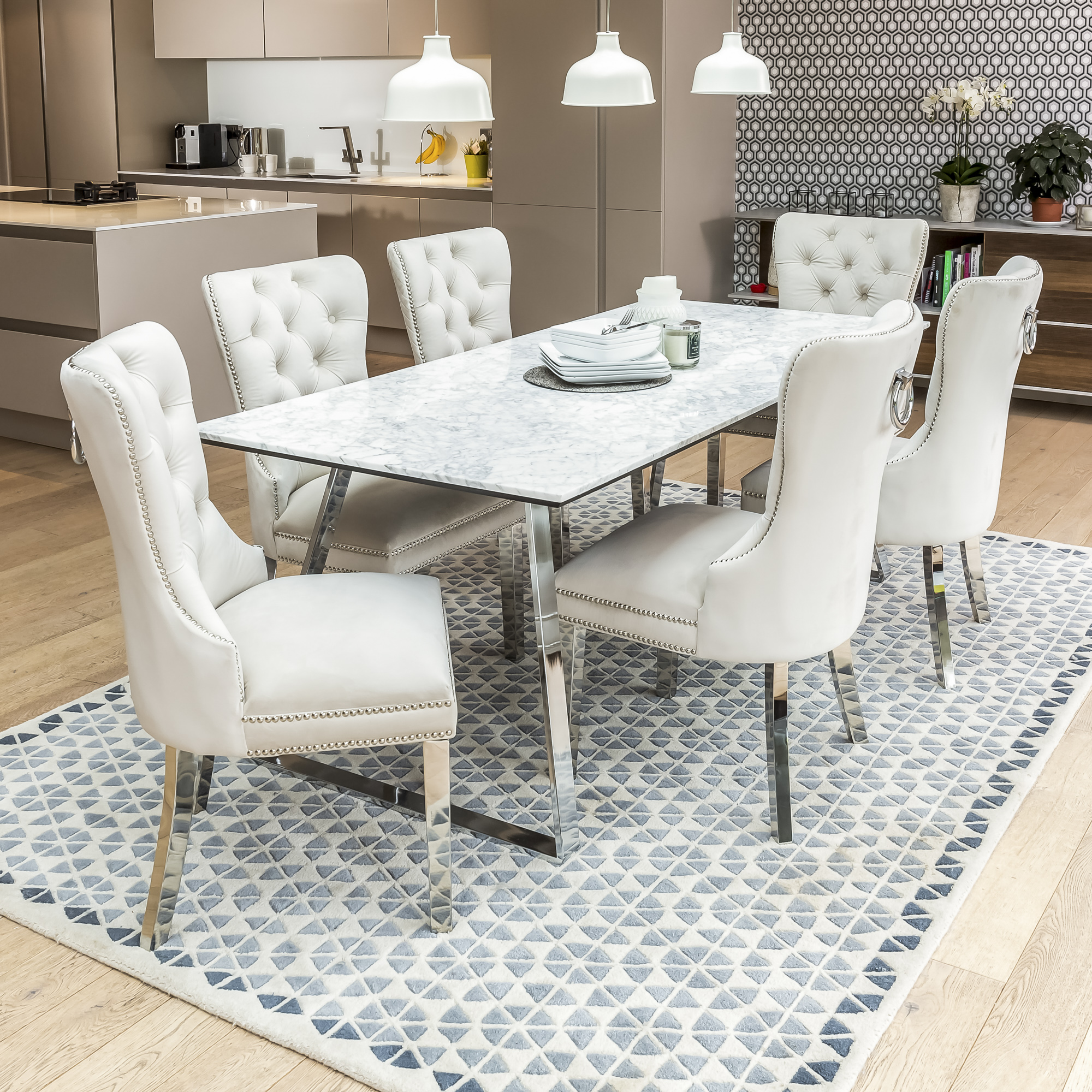 fa3d0906c1 2m Carrara Marble Dining Table Set with 6 Hale Cream Brushed Velvet Dining  Chairs