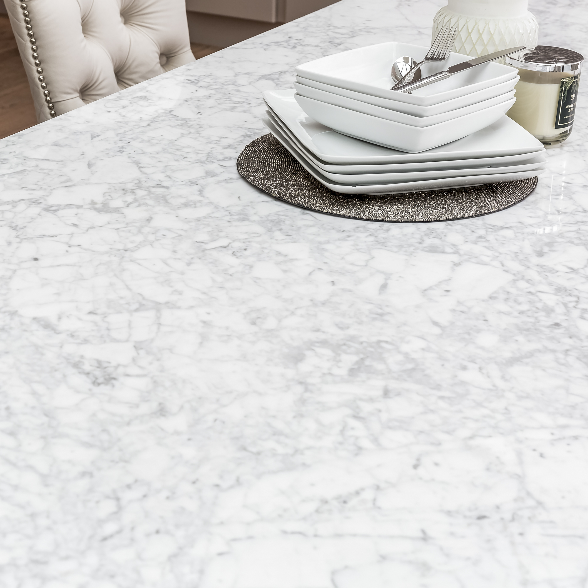 2m Carrara Marble Dining Table Set with 6 Hale Cream Brushed Velvet Dining Chairs