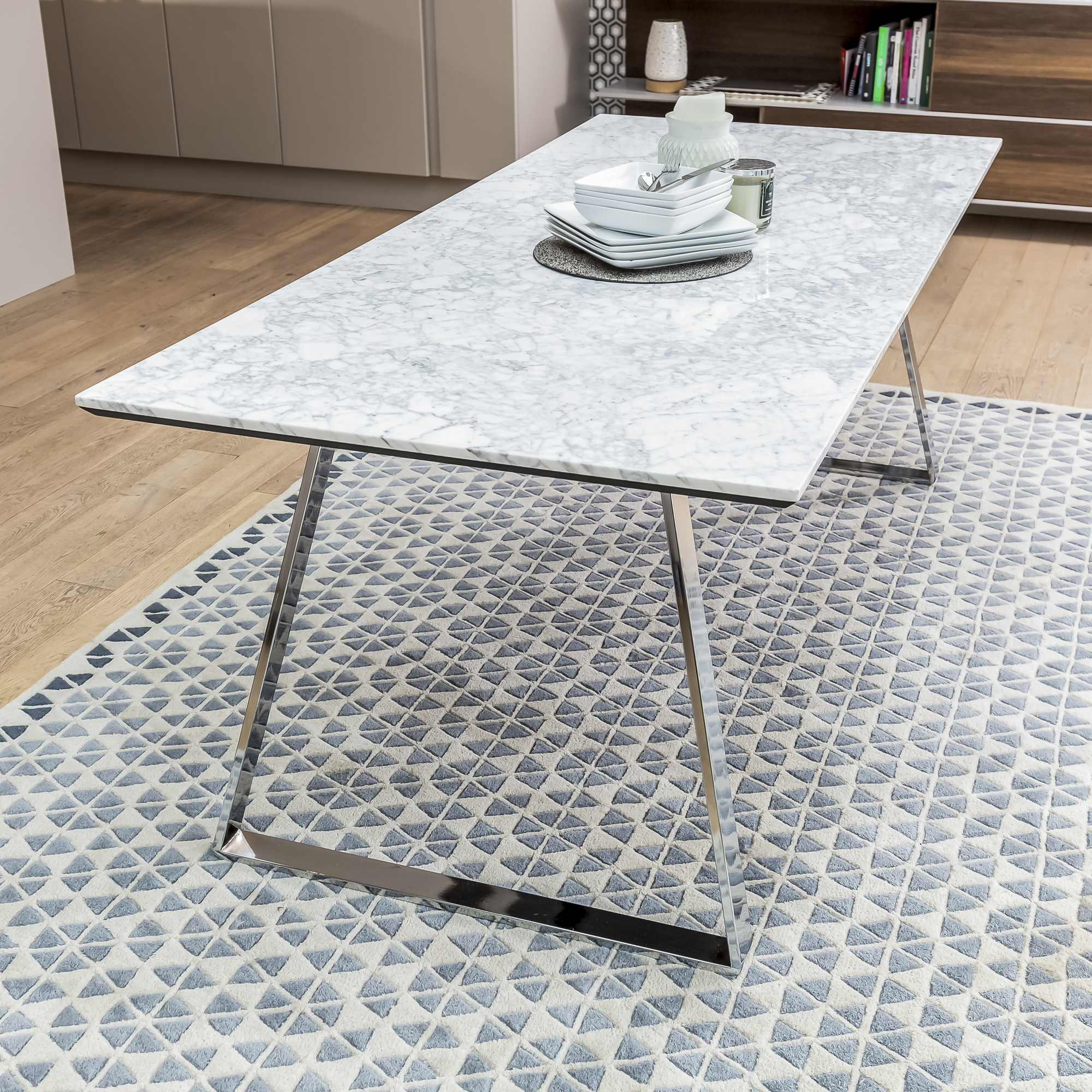 Modern 2m Carrara Marble Dining Table