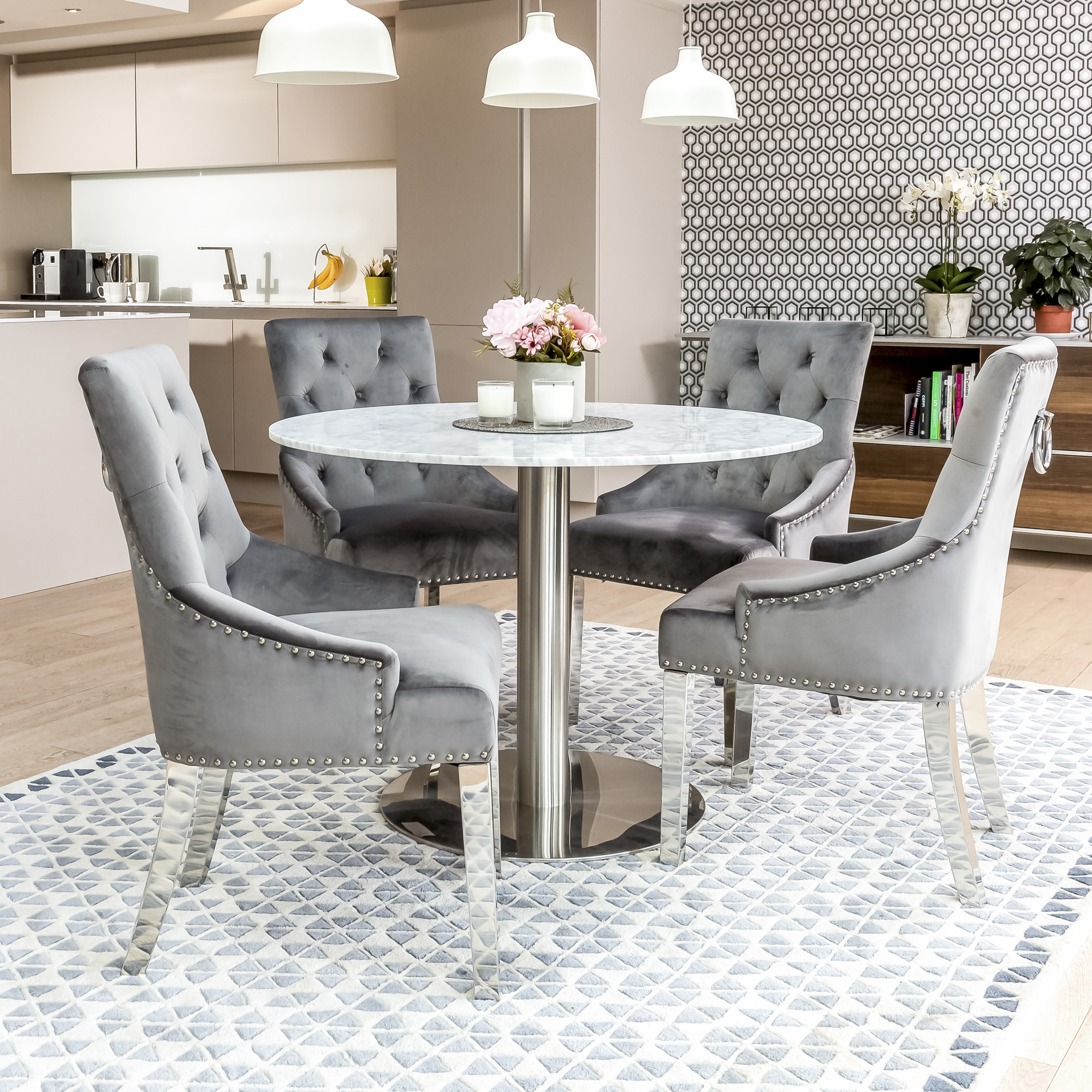 1.06m Carrara Marble Circular Dining Table with 4 Chelsea Grey Brushed Velvet Dining Chairs