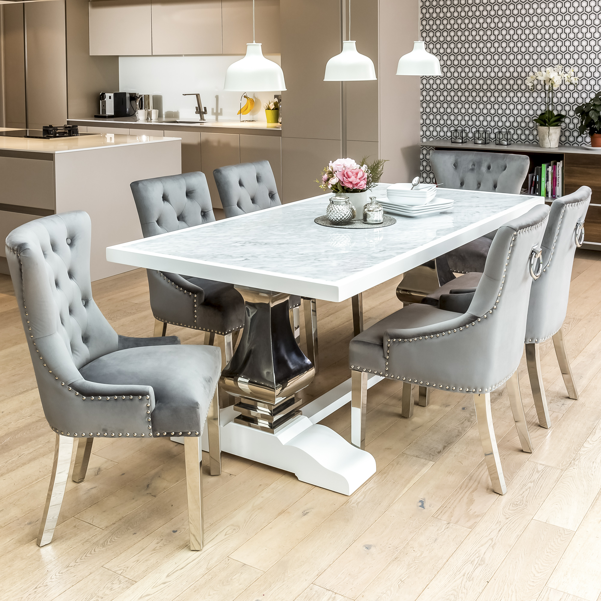 2m Carrara Marble White Dining Table with 6 Grey Brushed Velvet Dining Chairs