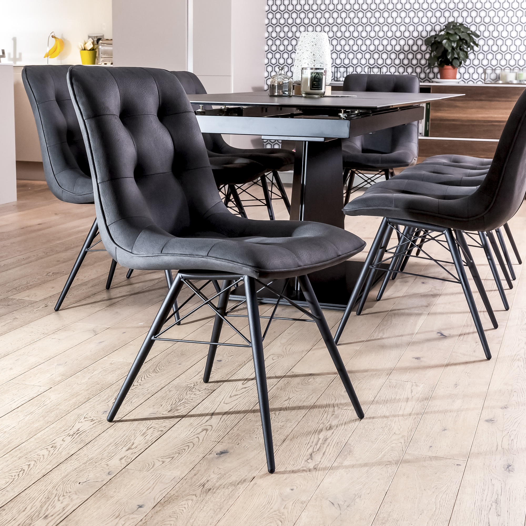 1.8m-2.2m – Casa Grey Ceramic Extending Table with 8 Madrid Chairs