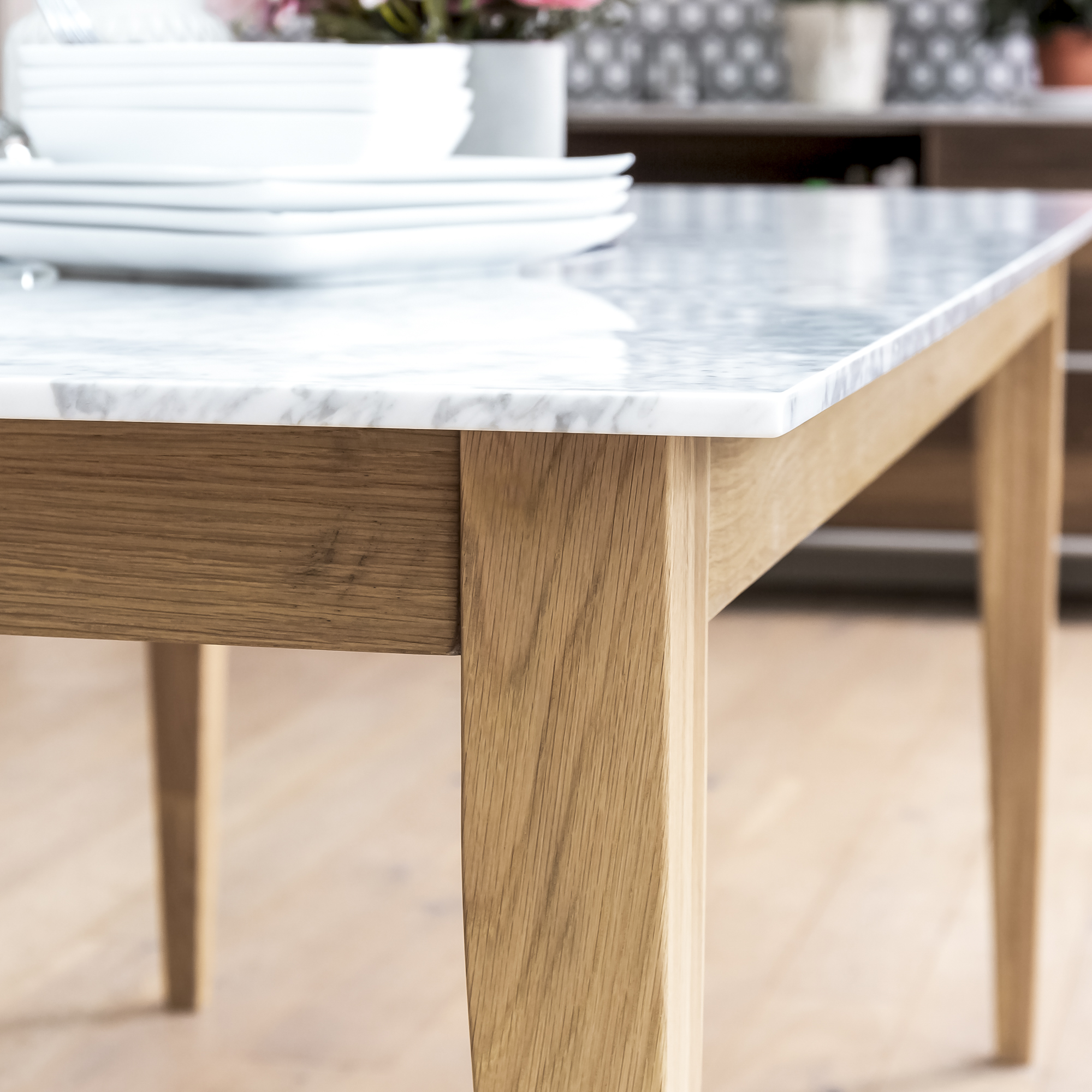 1.8m Oak Dining Table with White Carrara Marble Top