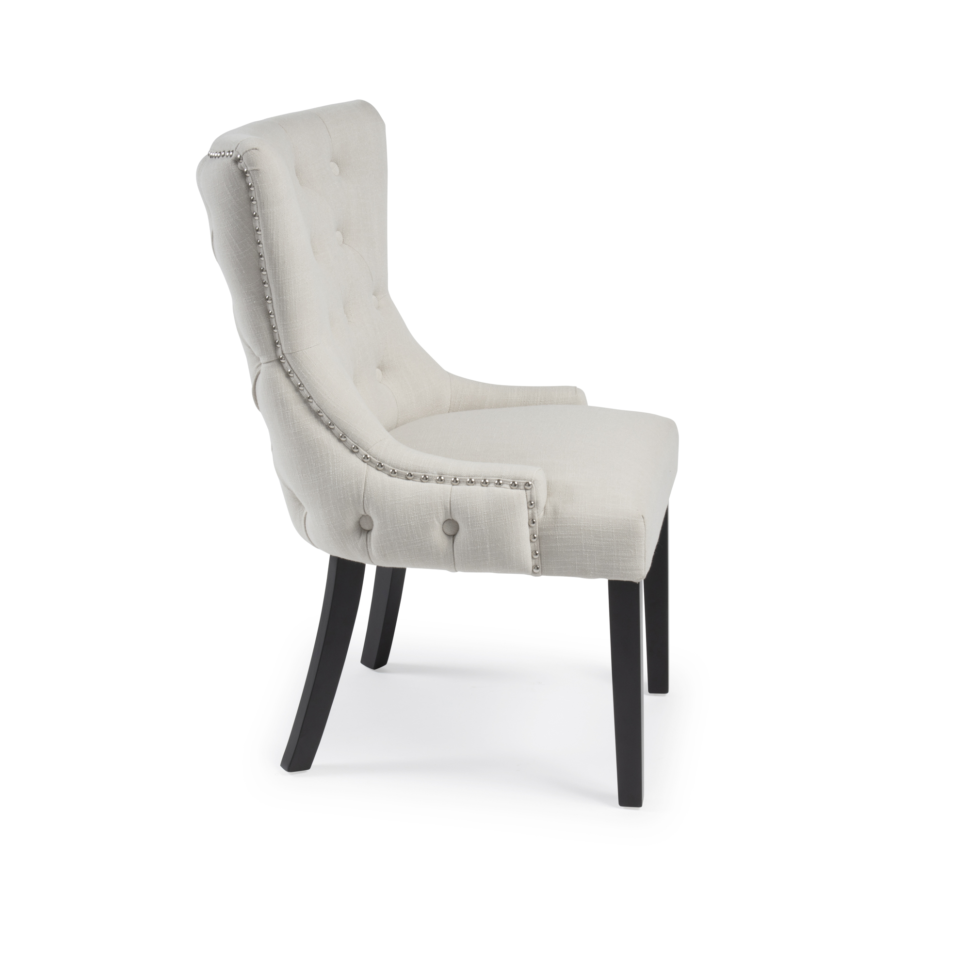 Knightsbridge Natural Linen Double Buttoned Dining Chair
