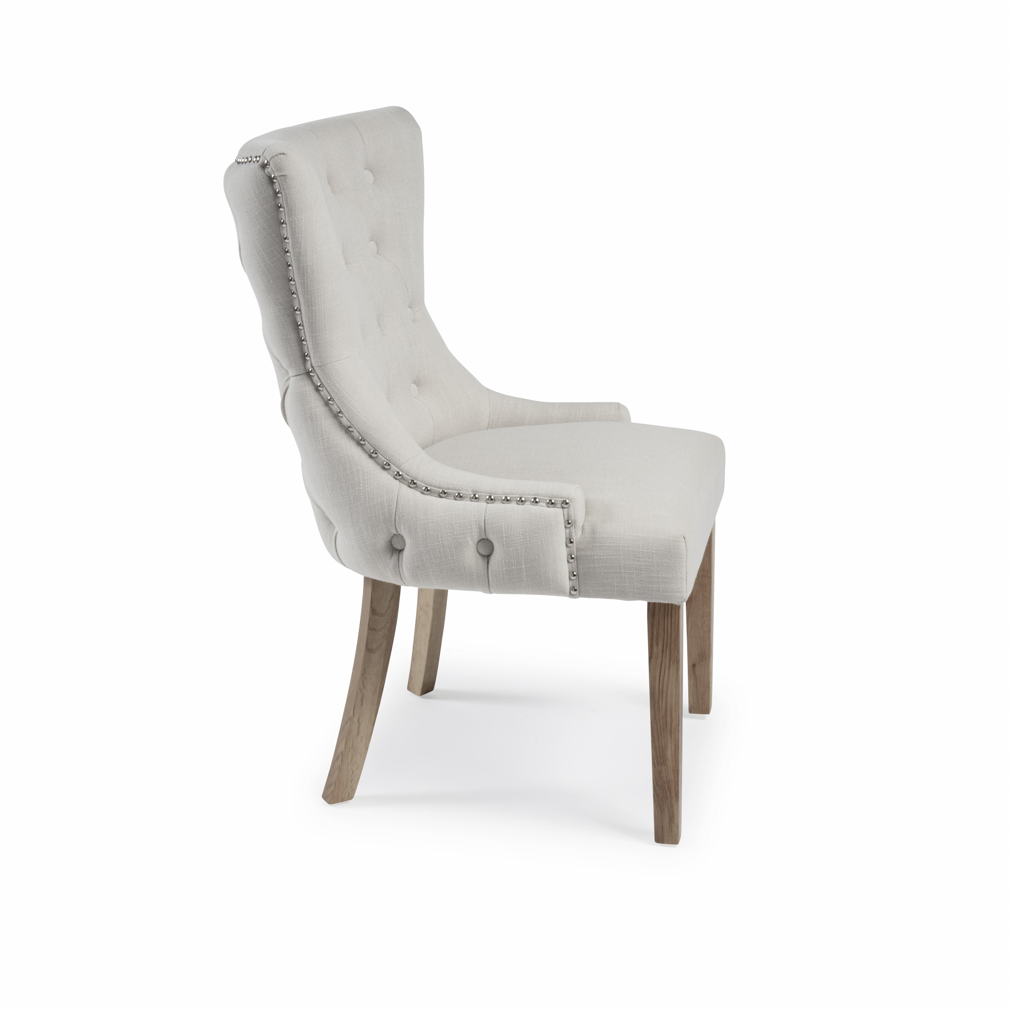 Knightsbridge Natural Linen Buttoned Scoop Dining Chair Set