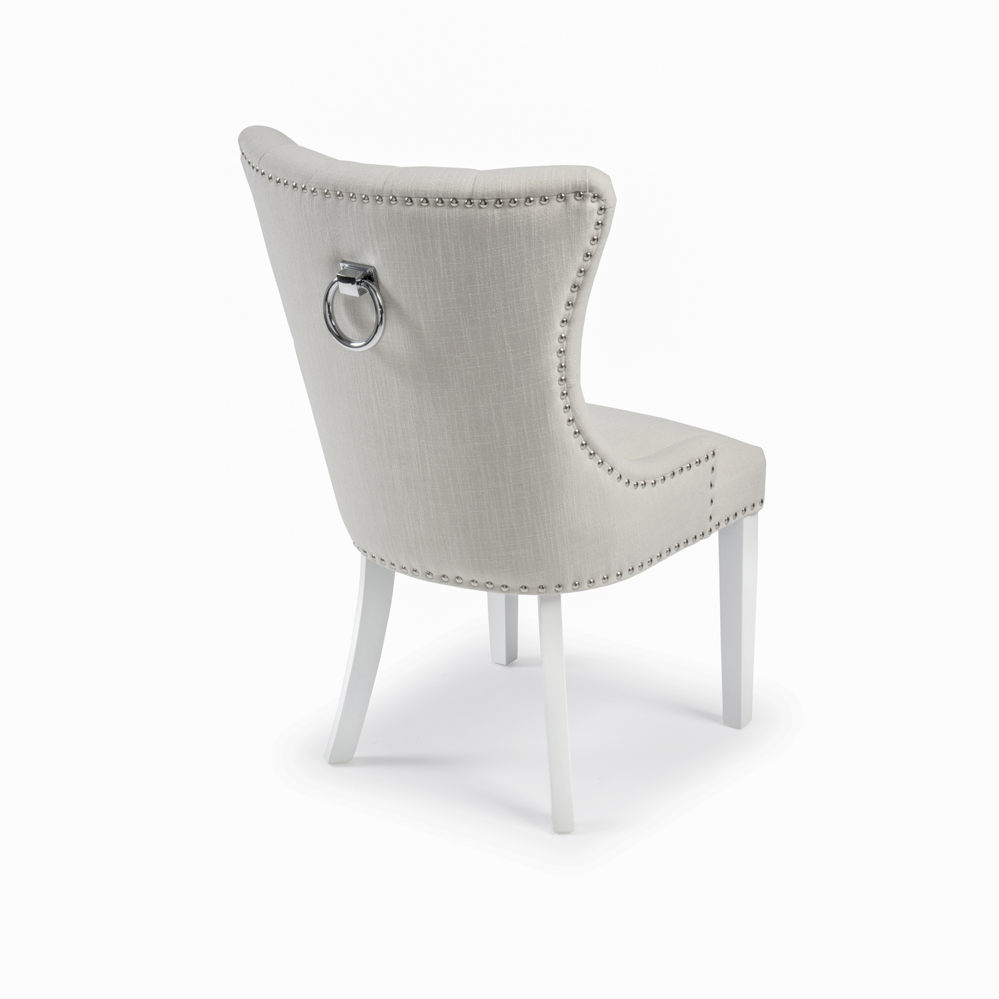 CLEARANCE: Knightsbridge Natural Linen Dining Chair with Stainless Steel Hoop Handle