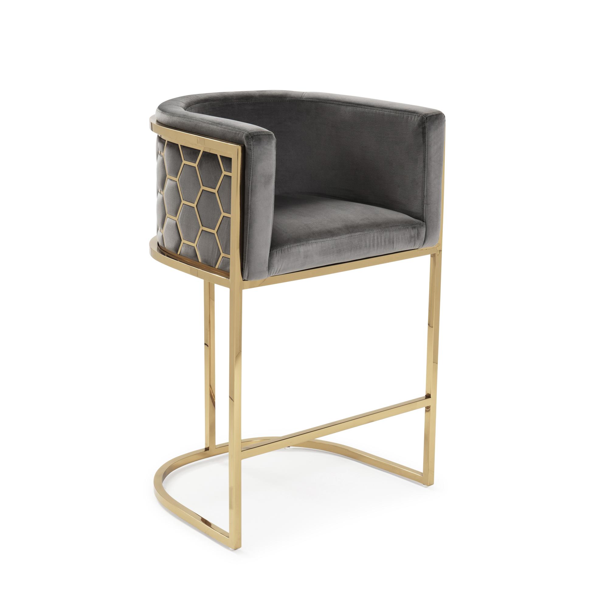 Barcelona Grey Brushed Velvet Bar Stool with a Gold Steel Frame
