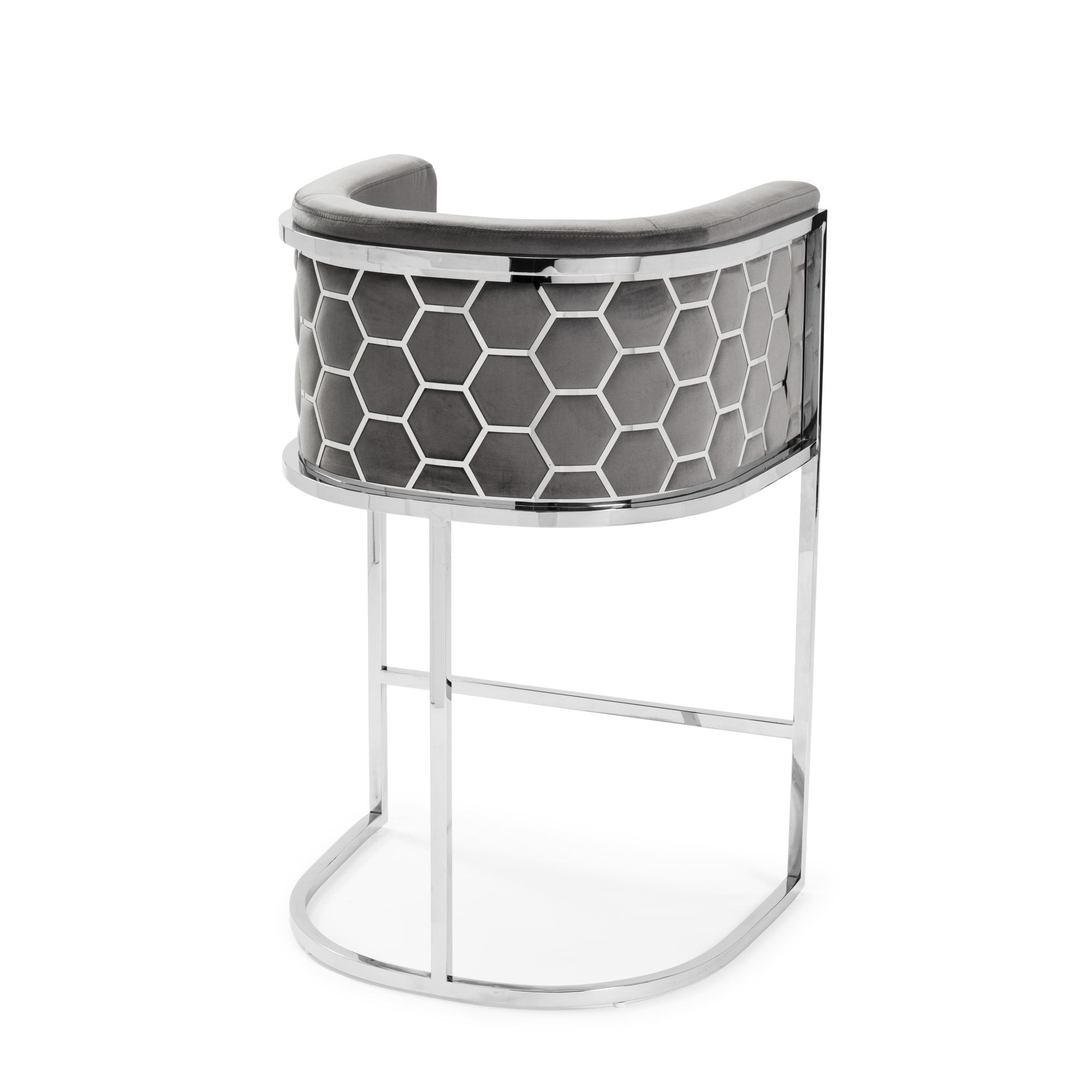 Barcelona Grey Brushed Velvet Bar Stool with a Stainless Steel Frame