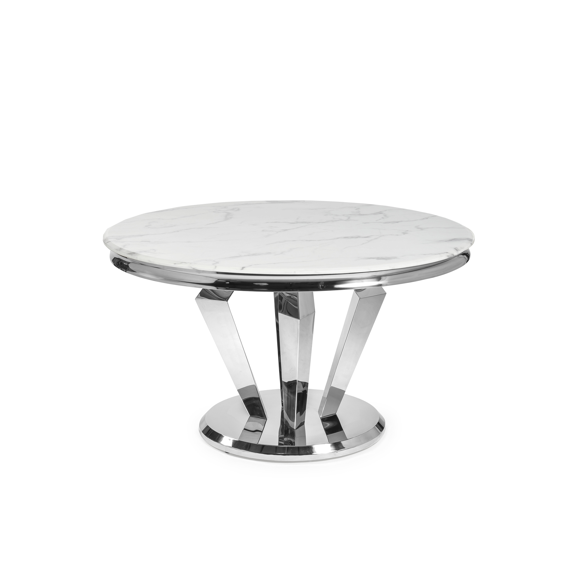 1.3M Polished Circular Modern Stainless Steel Dining Table with White Marble Top