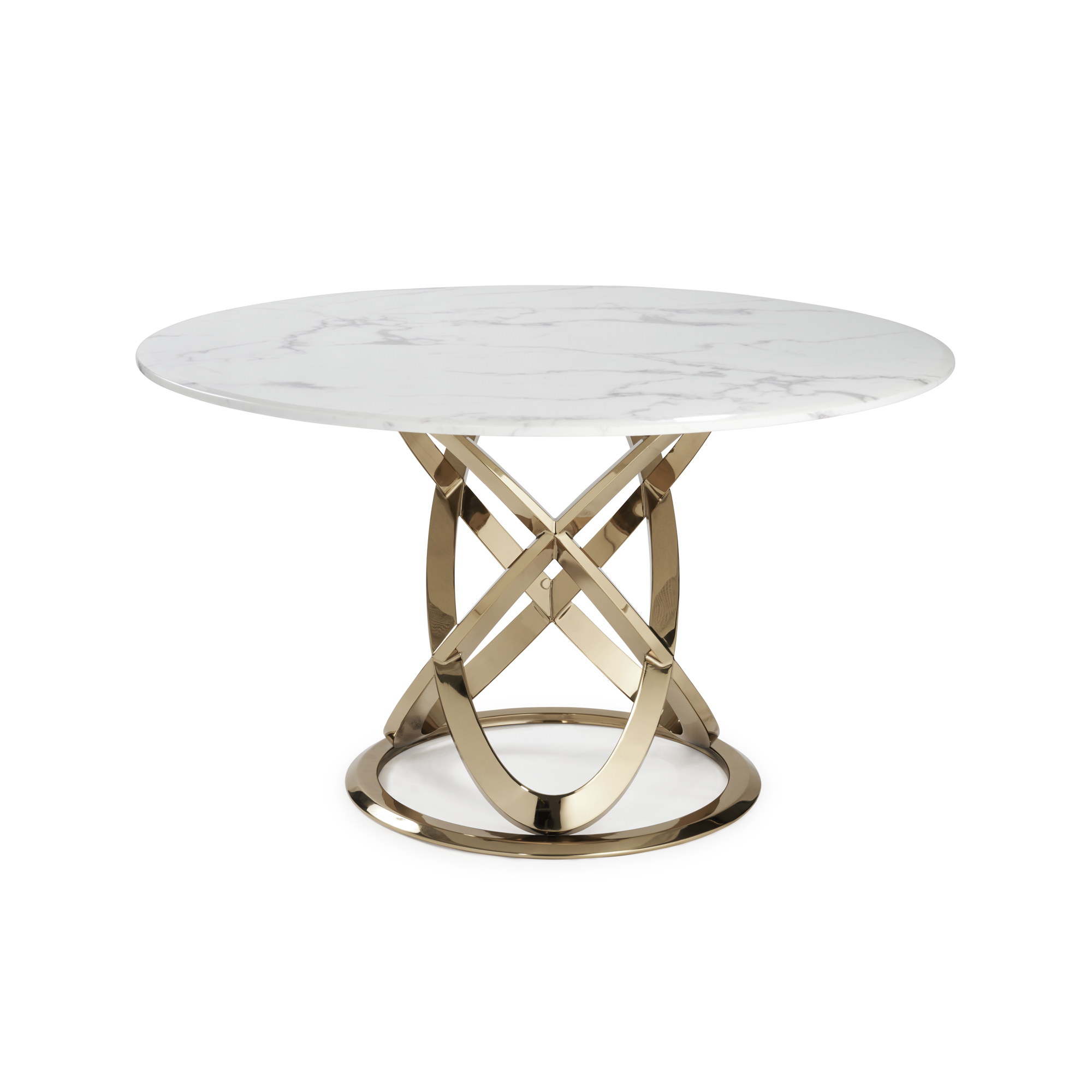 1.3M Pedestal Polished Circular Gold Stainless Steel Dining Table with White Marble Top