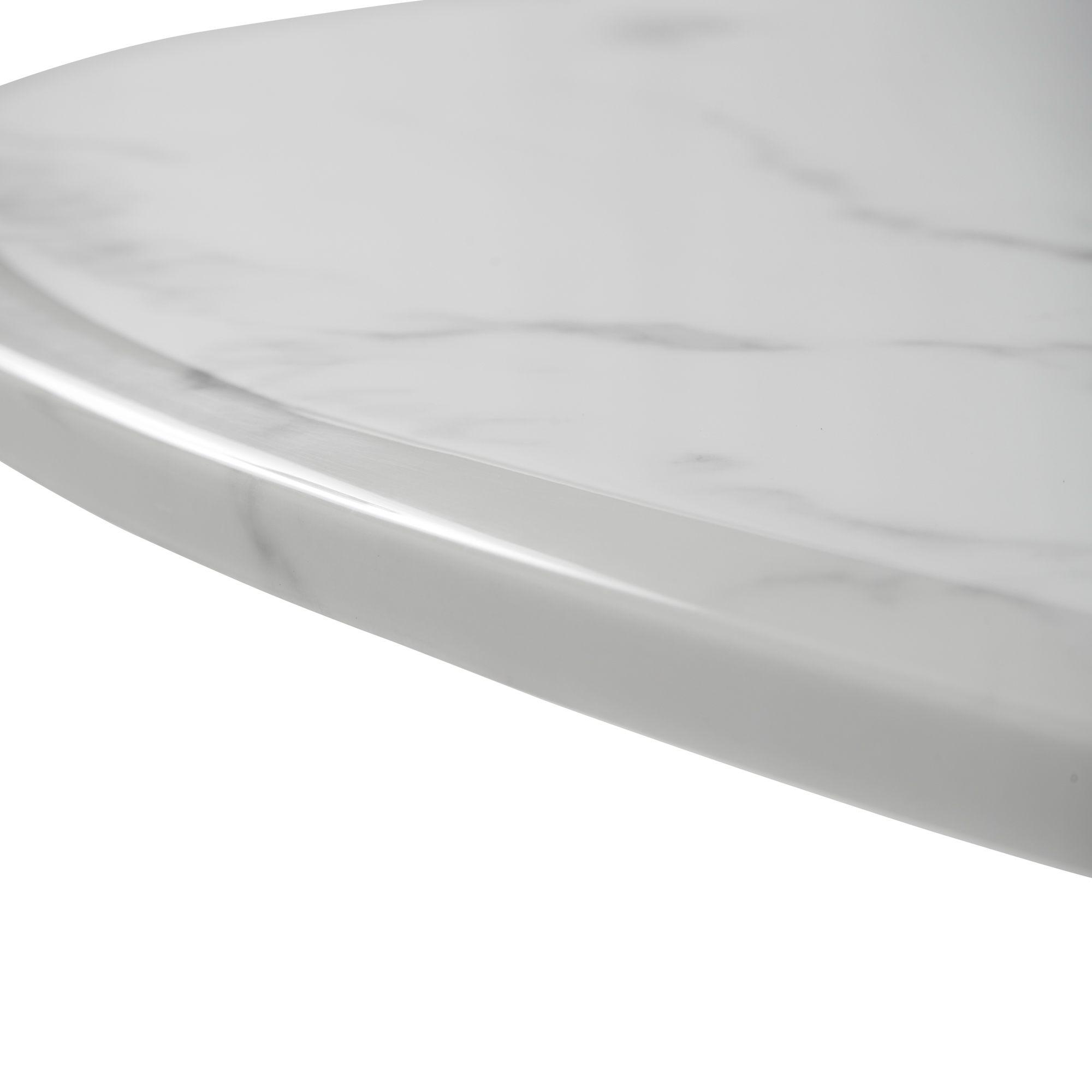 1.3M Pedestal Polished Circular Stainless Steel Dining Table with White Marble Top