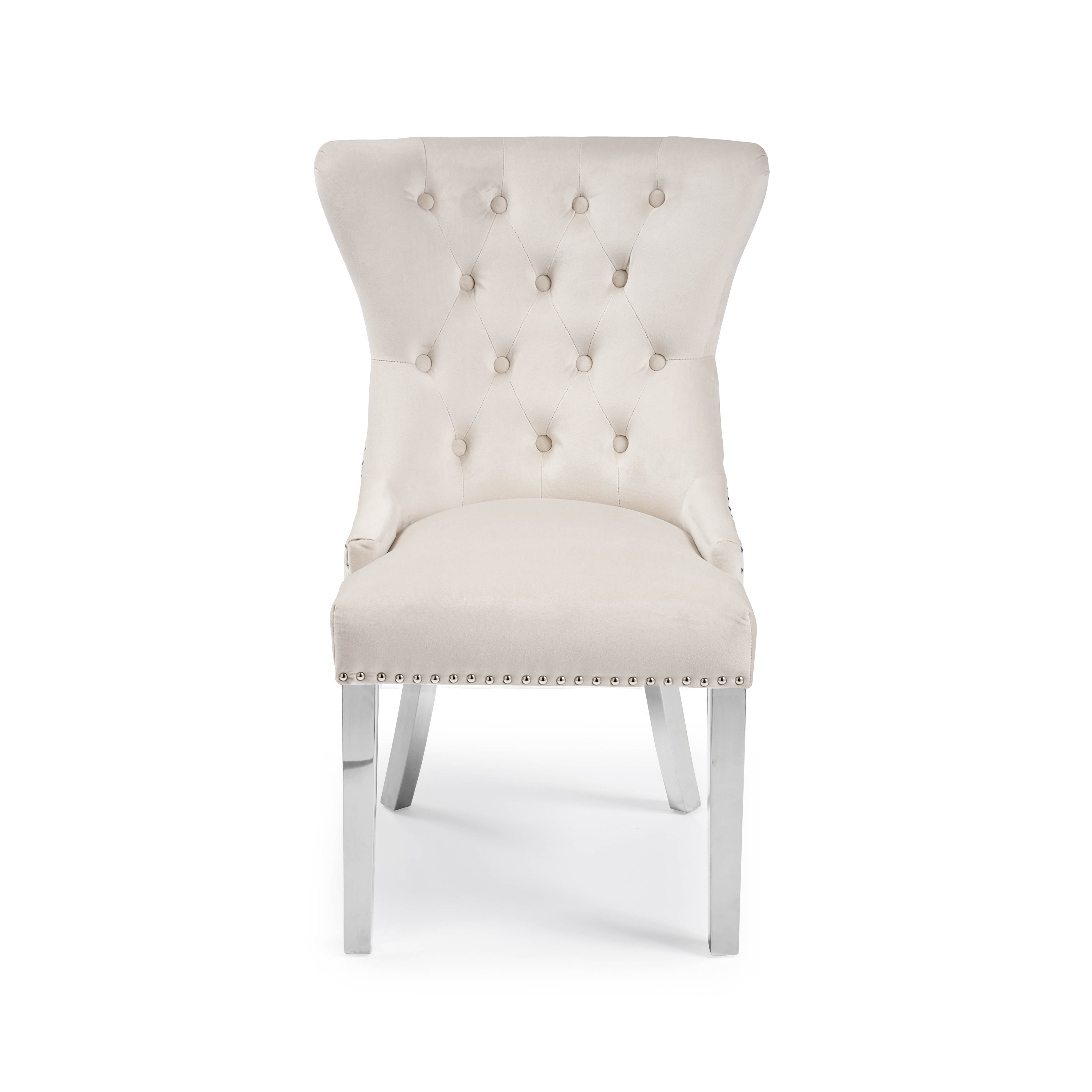 Knightsbridge Cream Brushed Velvet Dining Chair with Polished Steel Legs