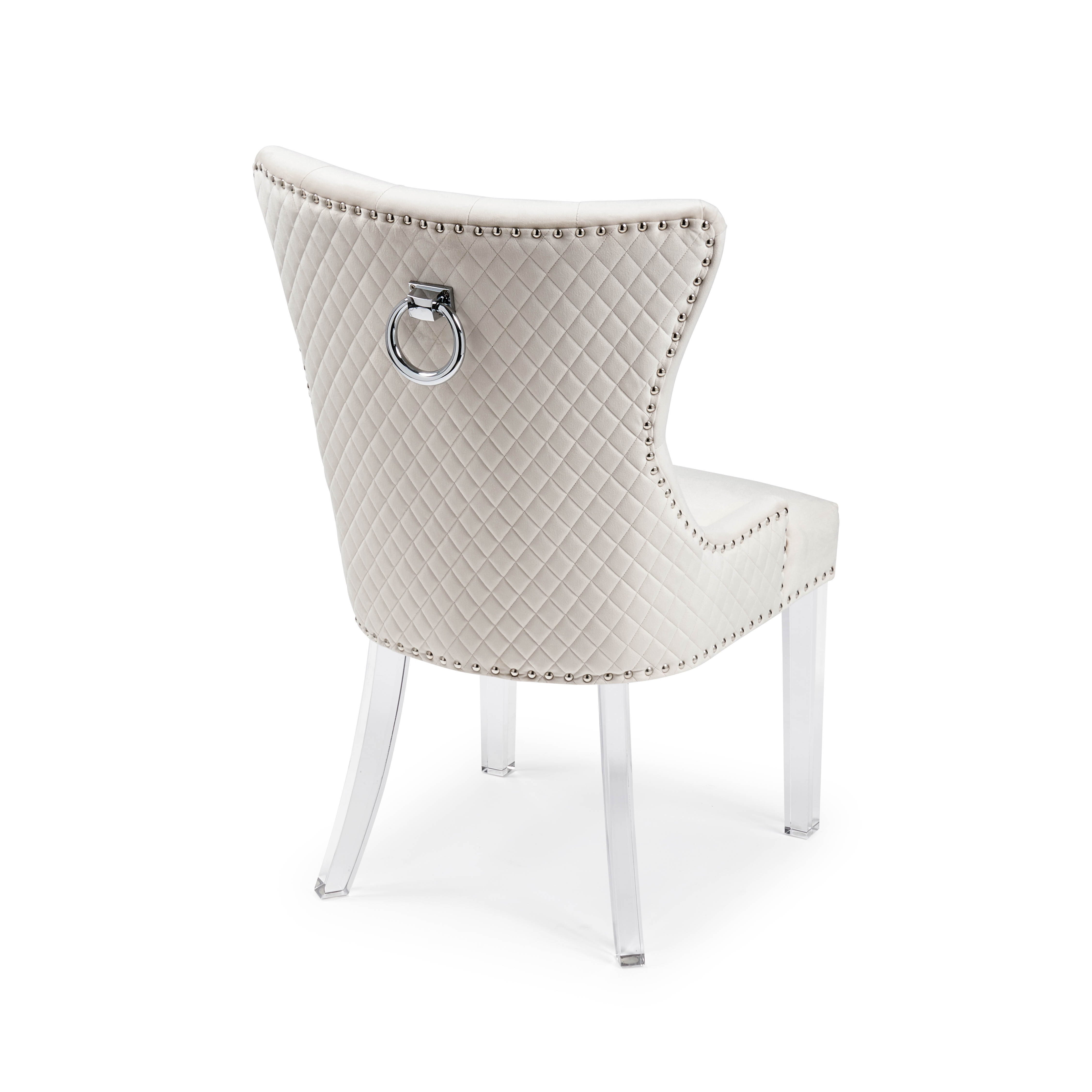 Knightsbridge Brushed Velvet Dining Chair with Quilted Back – Cream