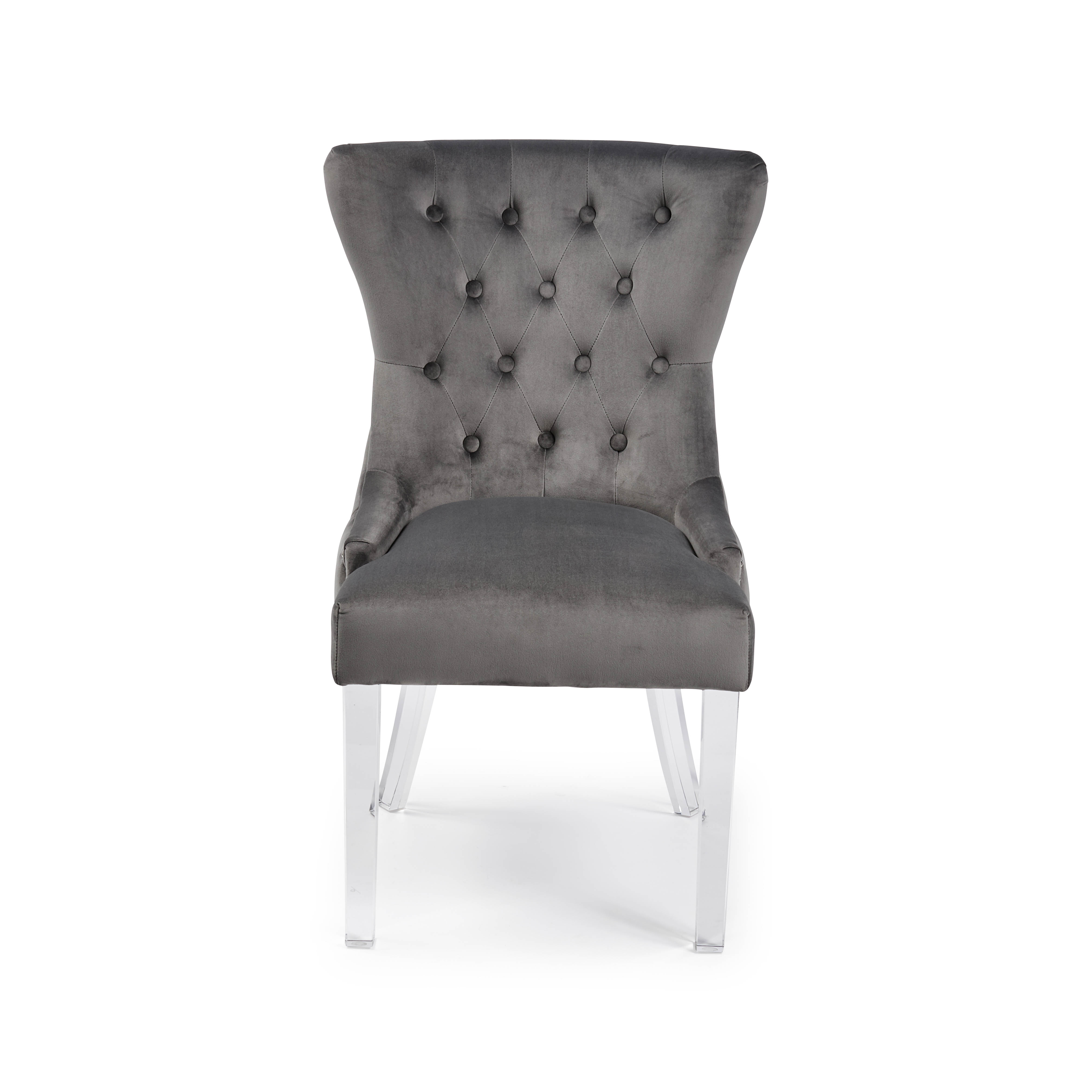 Knightsbridge Buttoned Grey Brushed Velvet Dining Chair with Polished Acrylic Legs