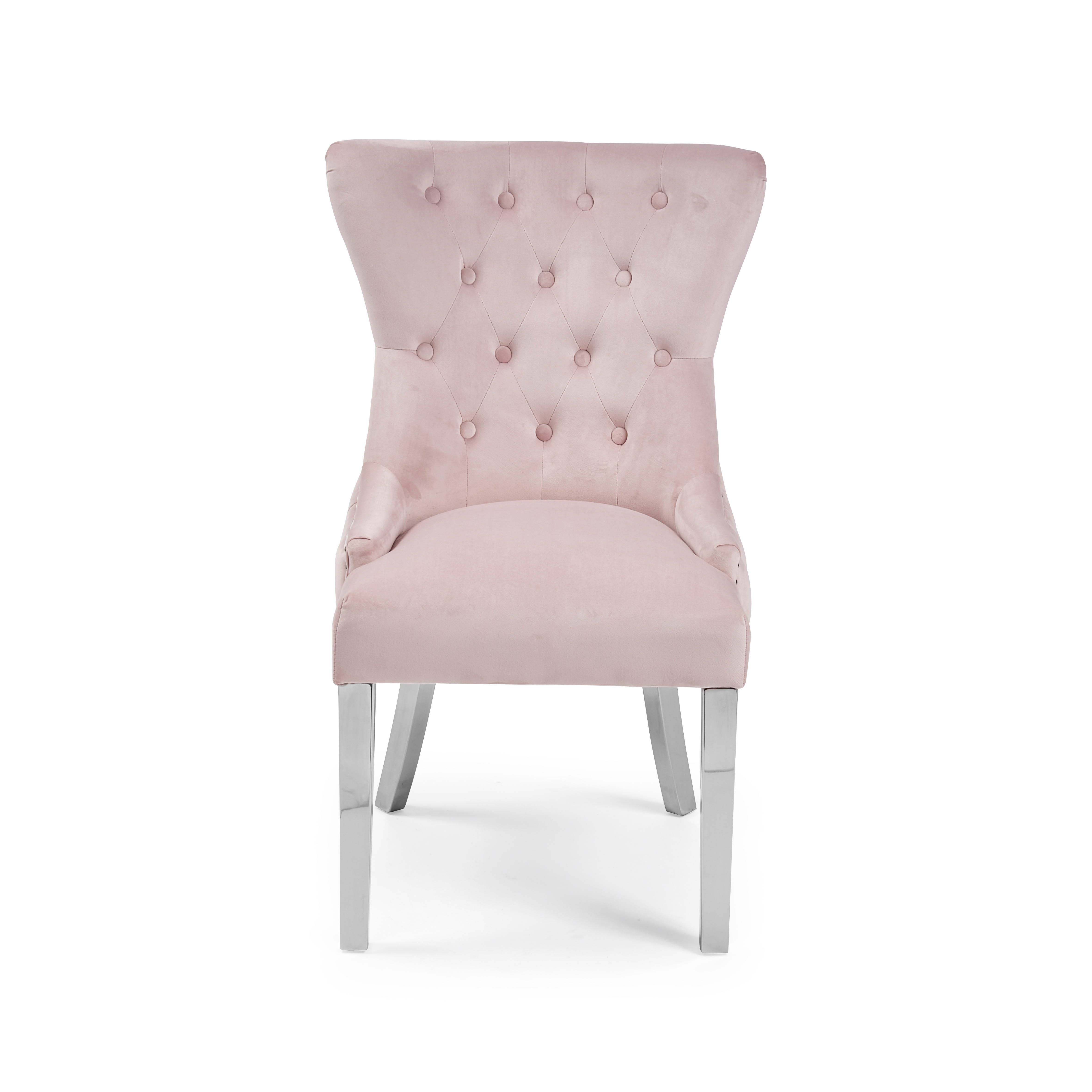 Knightsbridge Buttoned Brushed Velvet Dining Chair with Polished Stainless Steel Legs – Pink