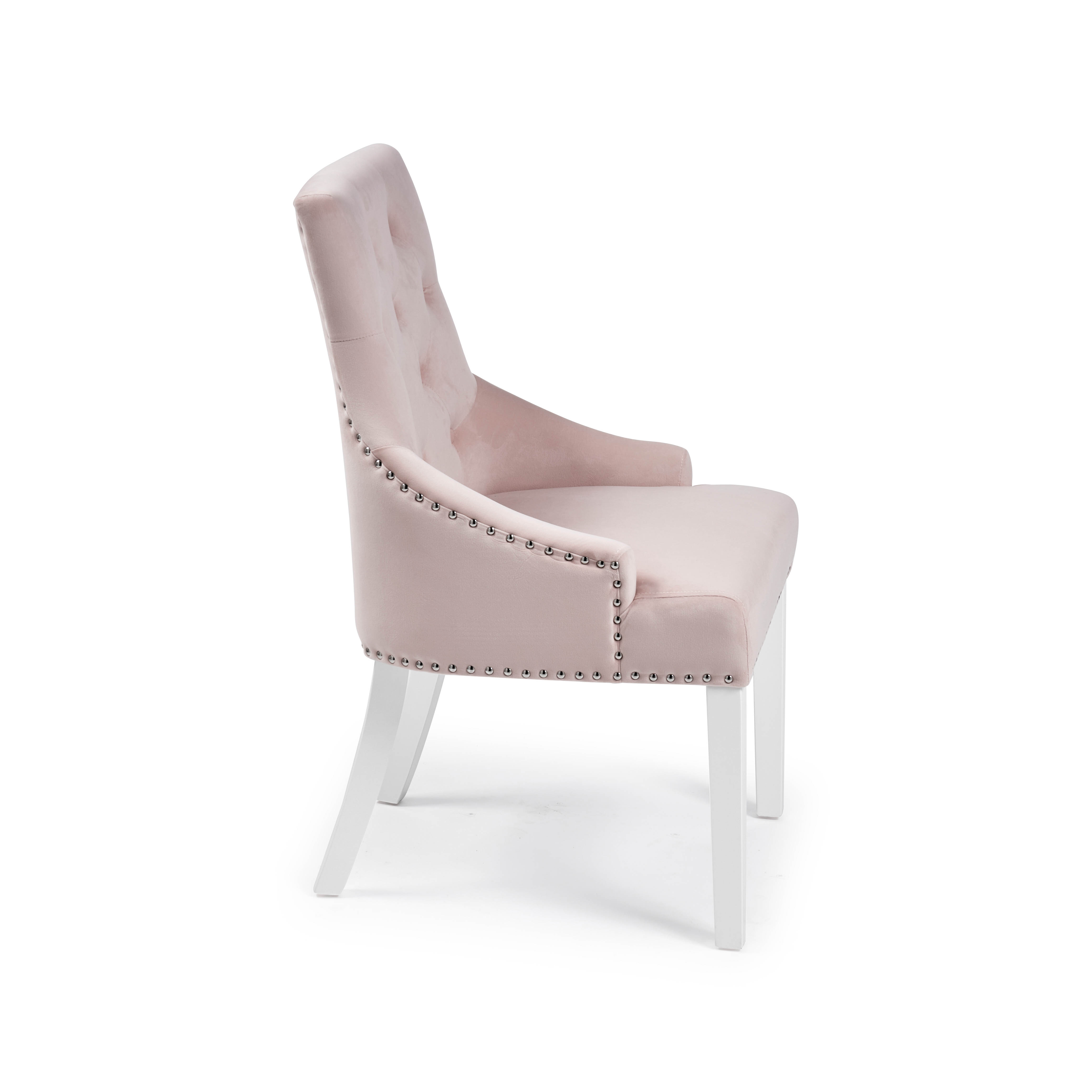 Chelsea Brushed Velvet Upholstered Scoop Dining Chair – Pink