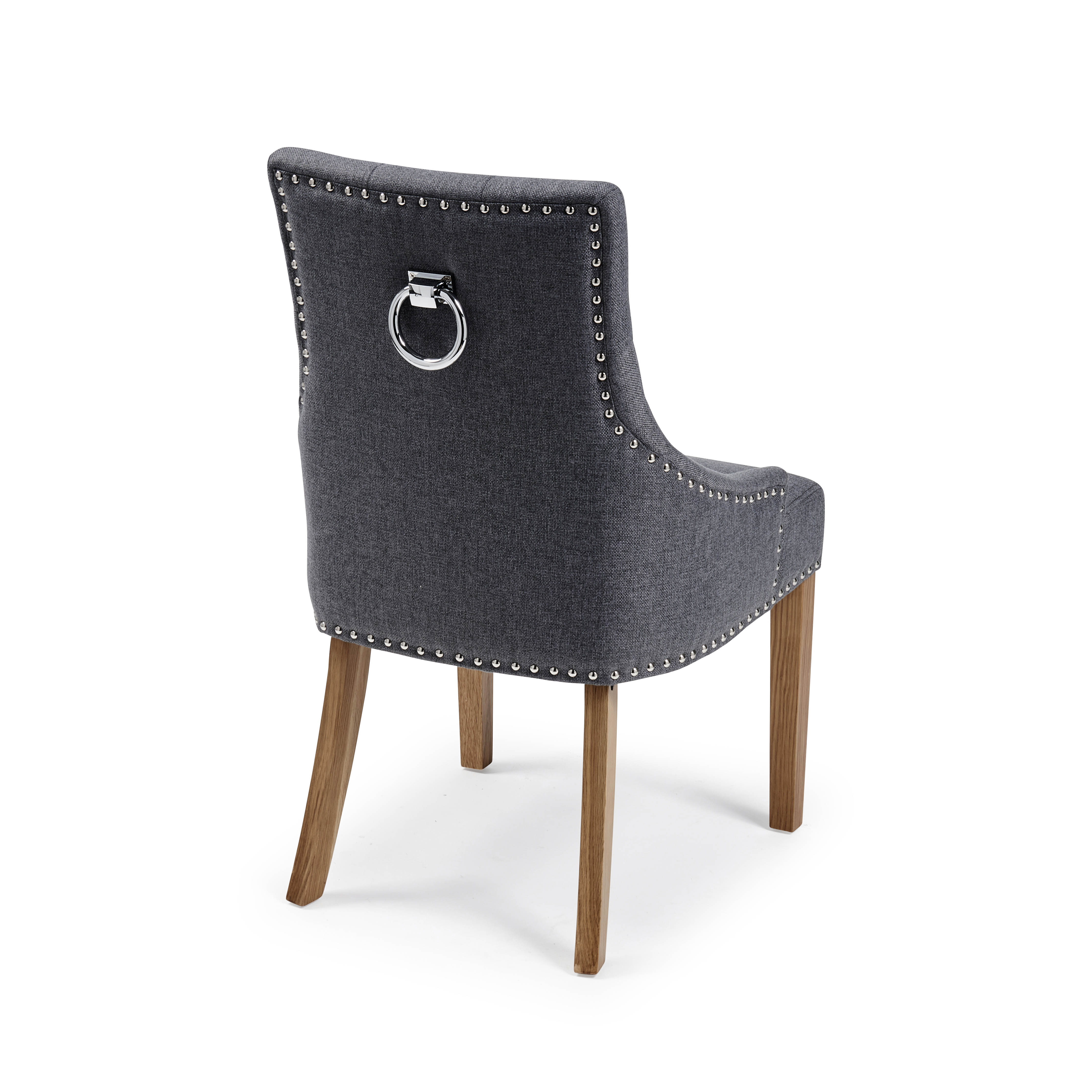 Chelsea Upholstered Scoop Dining Chair In A Charcoal Linen with Oak Legs