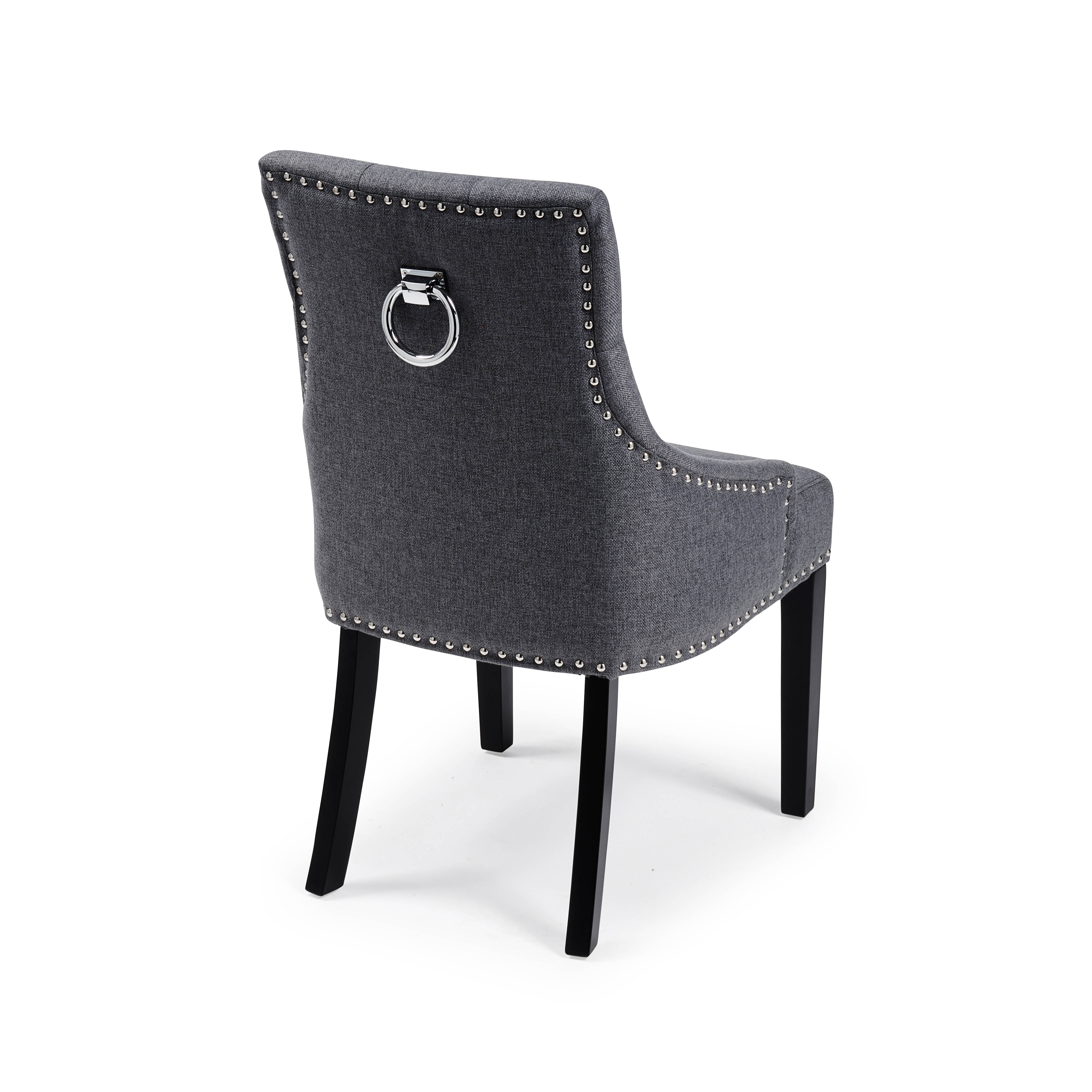 Chelsea Upholstered Scoop Dining Chair In A Charcoal Linen with Black Legs
